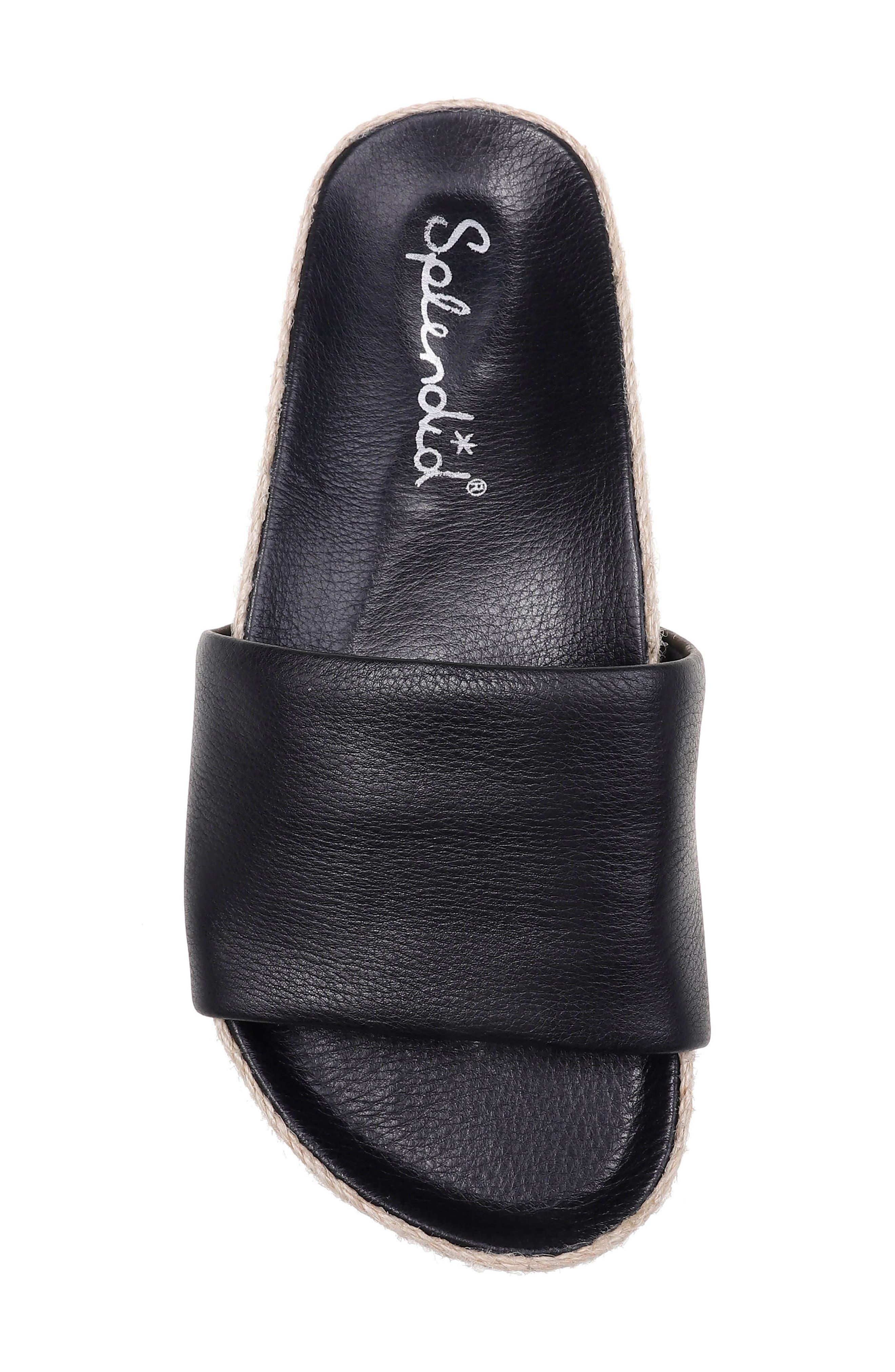 SPLENDID, Sandford Espadrille Slide Sandal, Alternate thumbnail 5, color, BLACK LEATHER