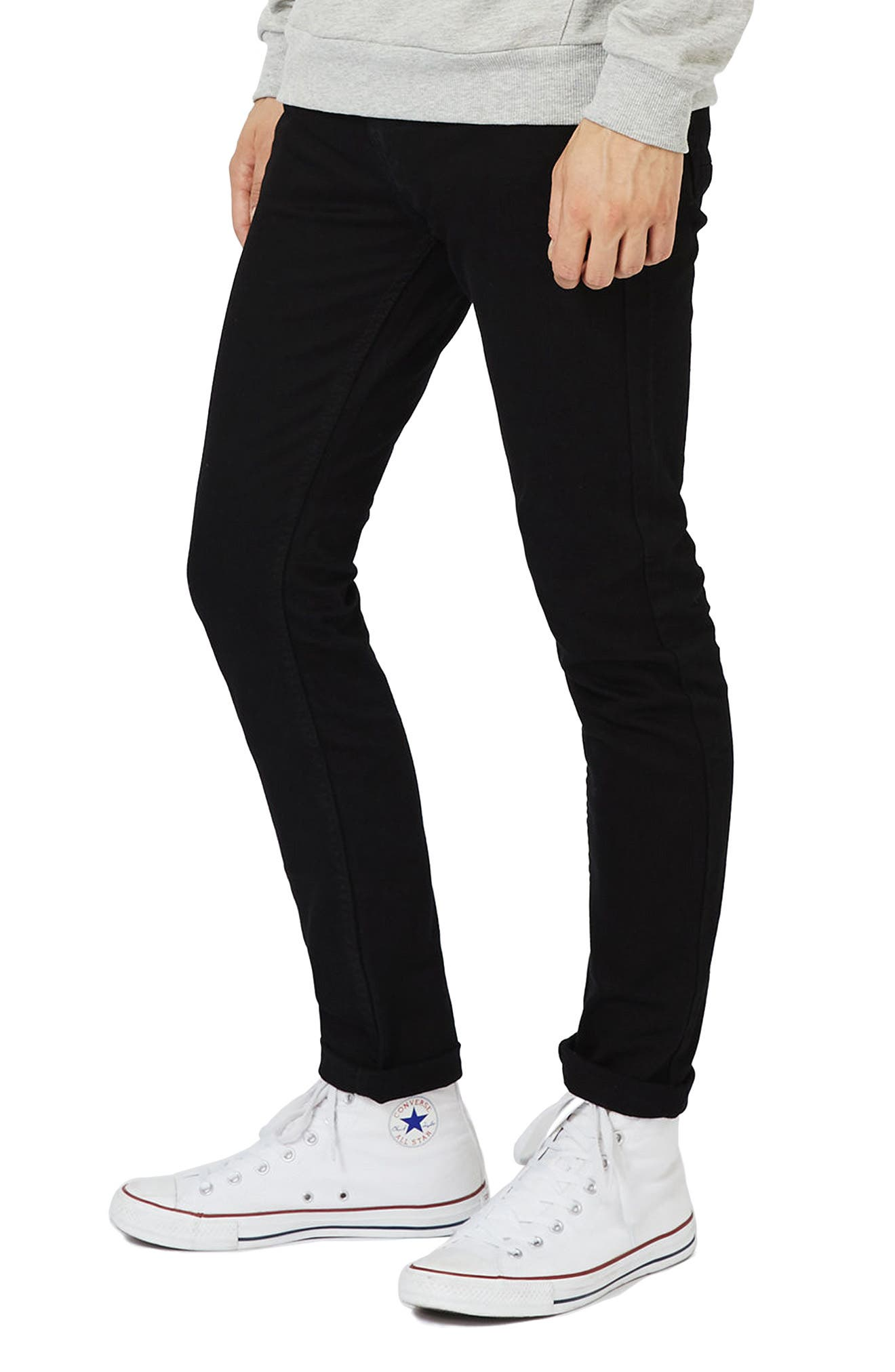 TOPMAN Skinny Stretch Jeans, Main, color, BLACK
