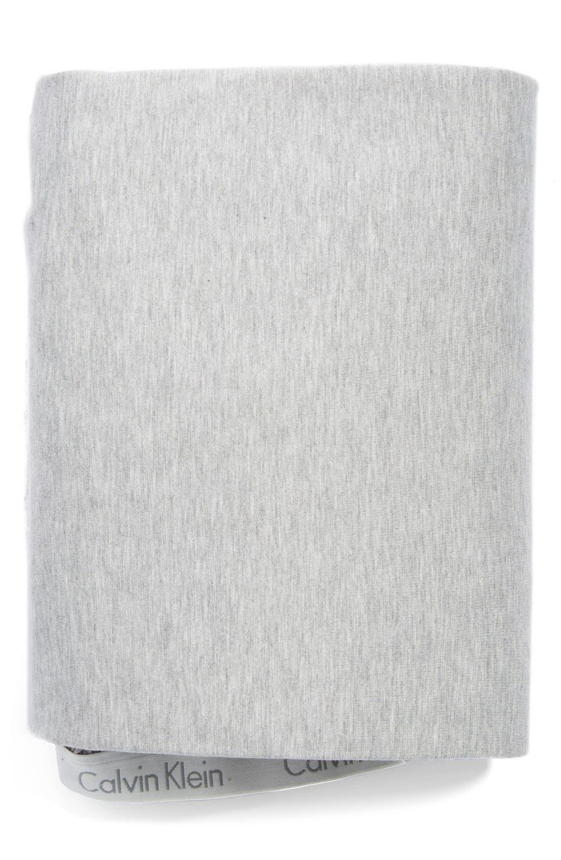 CALVIN KLEIN HOME Modern Cotton Collection Cotton & Modal Fitted Sheet, Main, color, GREY