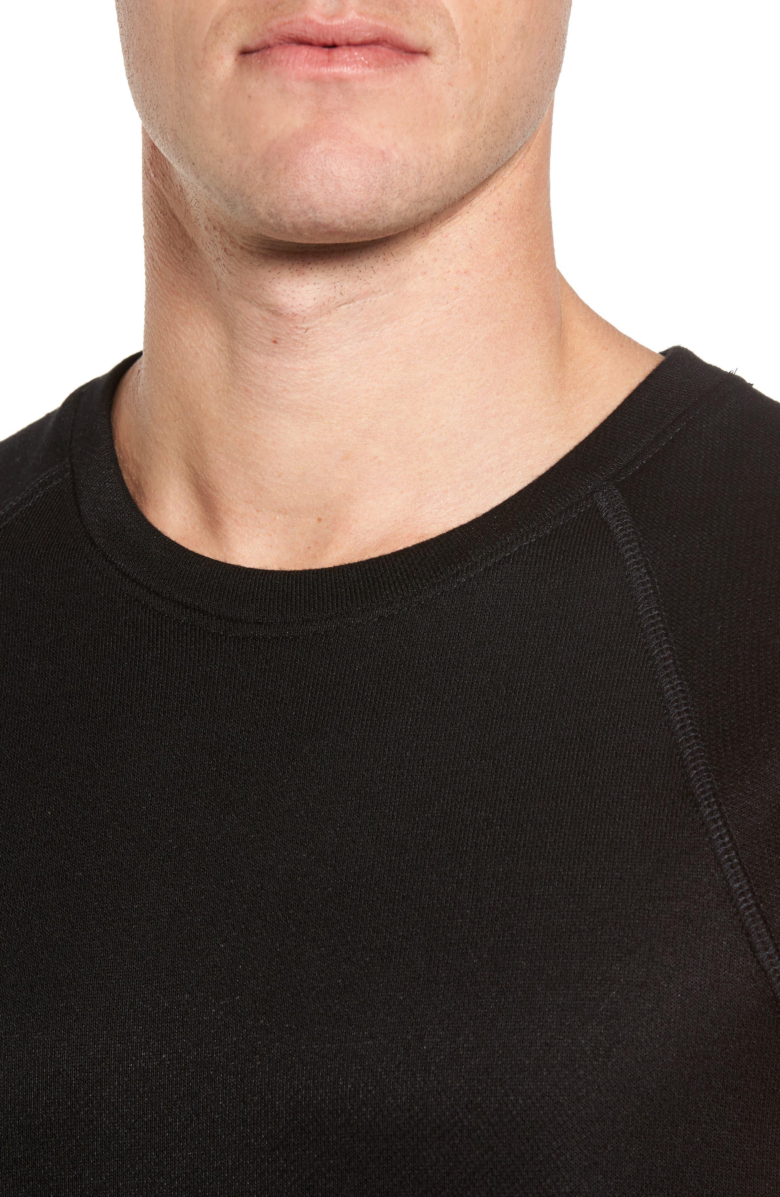 ALO, Dosha Relaxed Fit Sweatshirt Tank, Alternate thumbnail 4, color, BLACK