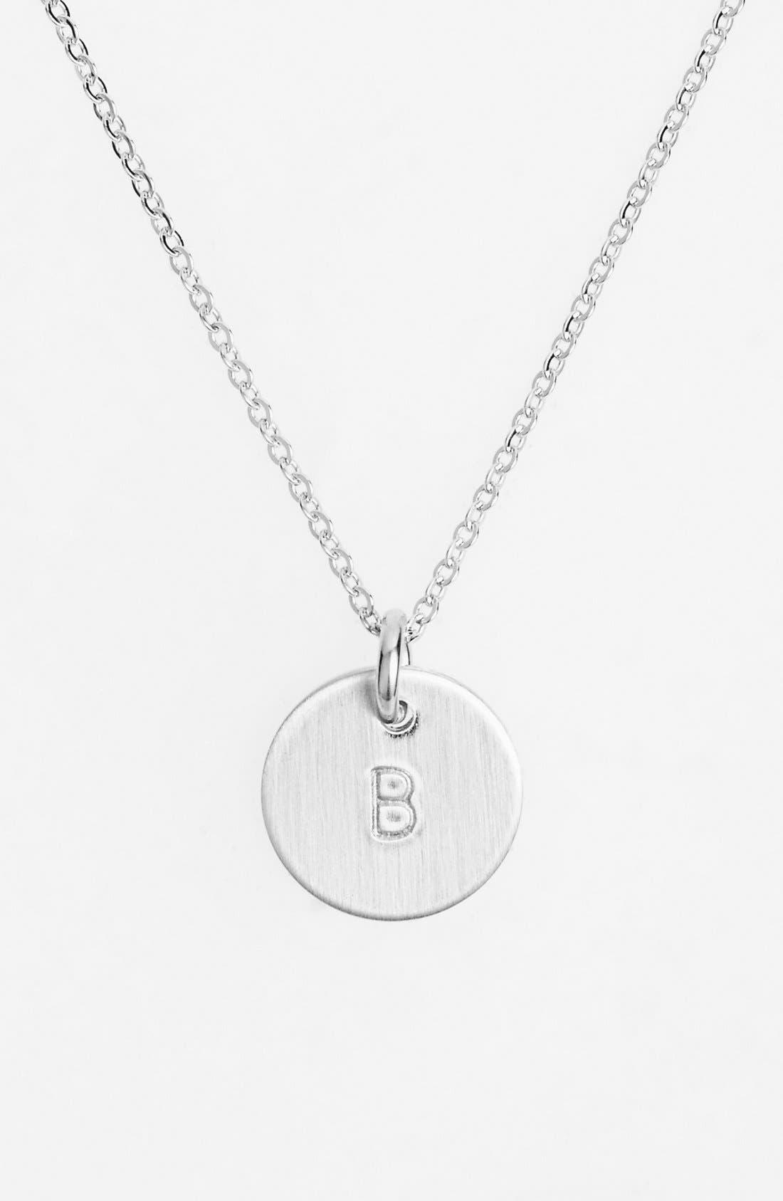 NASHELLE, Sterling Silver Initial Mini Disc Necklace, Main thumbnail 1, color, STERLING SILVER B