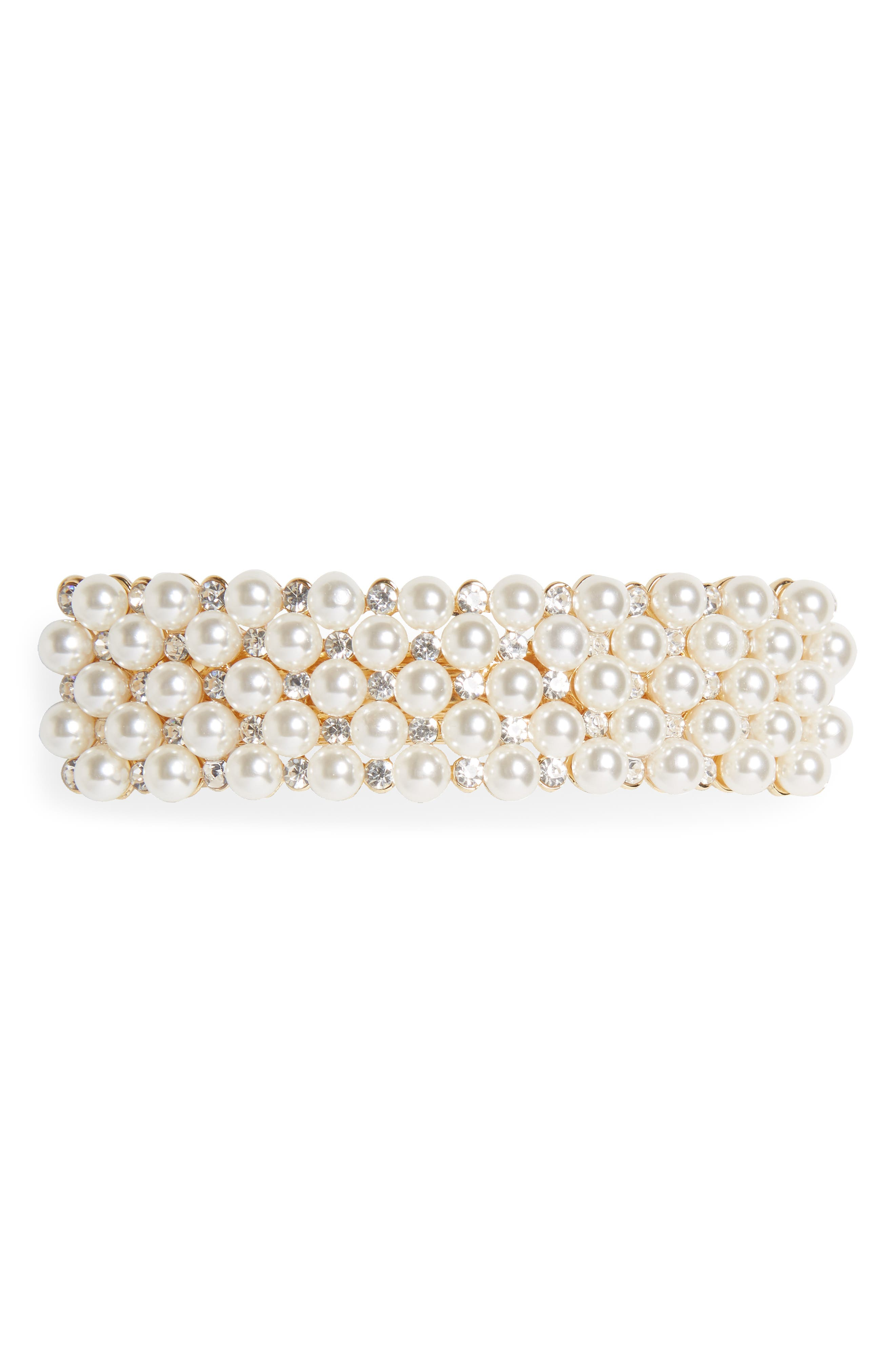 TASHA, Crystal & Imitation Pearl Embellished Barrette, Main thumbnail 1, color, 710