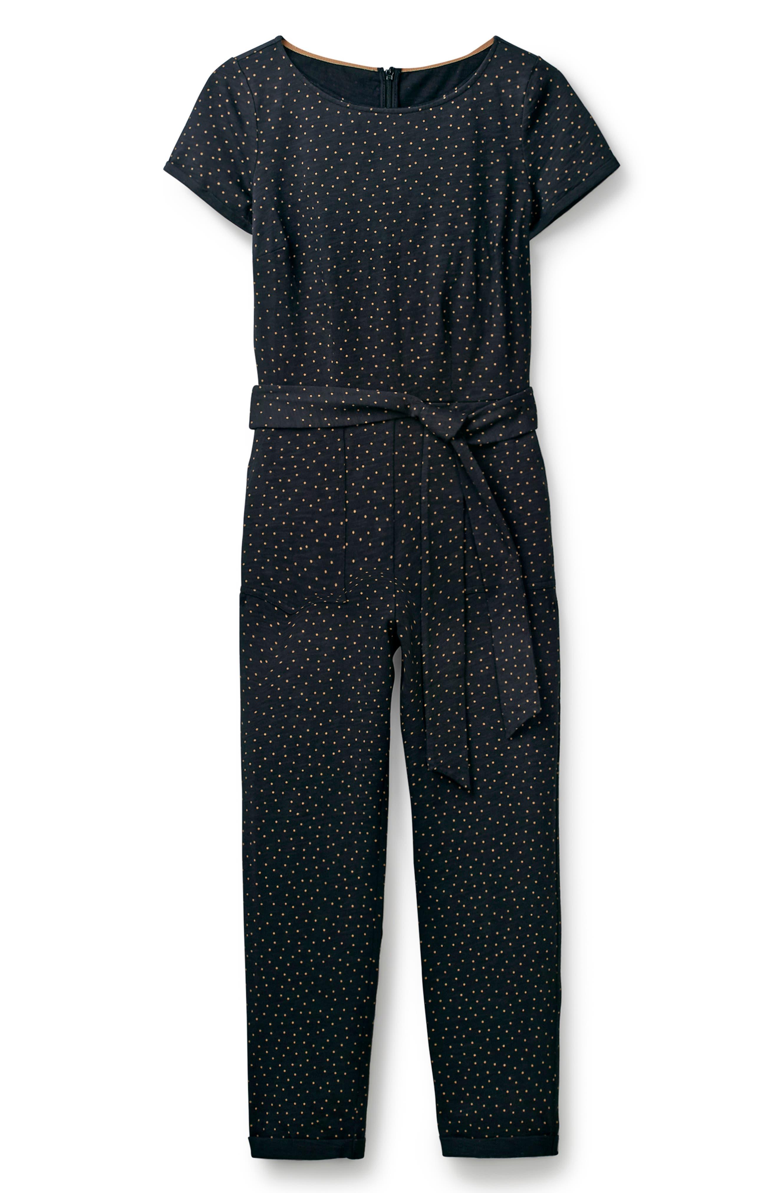 BODEN, Caitlin Jersey Jumpsuit, Alternate thumbnail 4, color, BLACK/ SOFT TRUFFLE SPOT