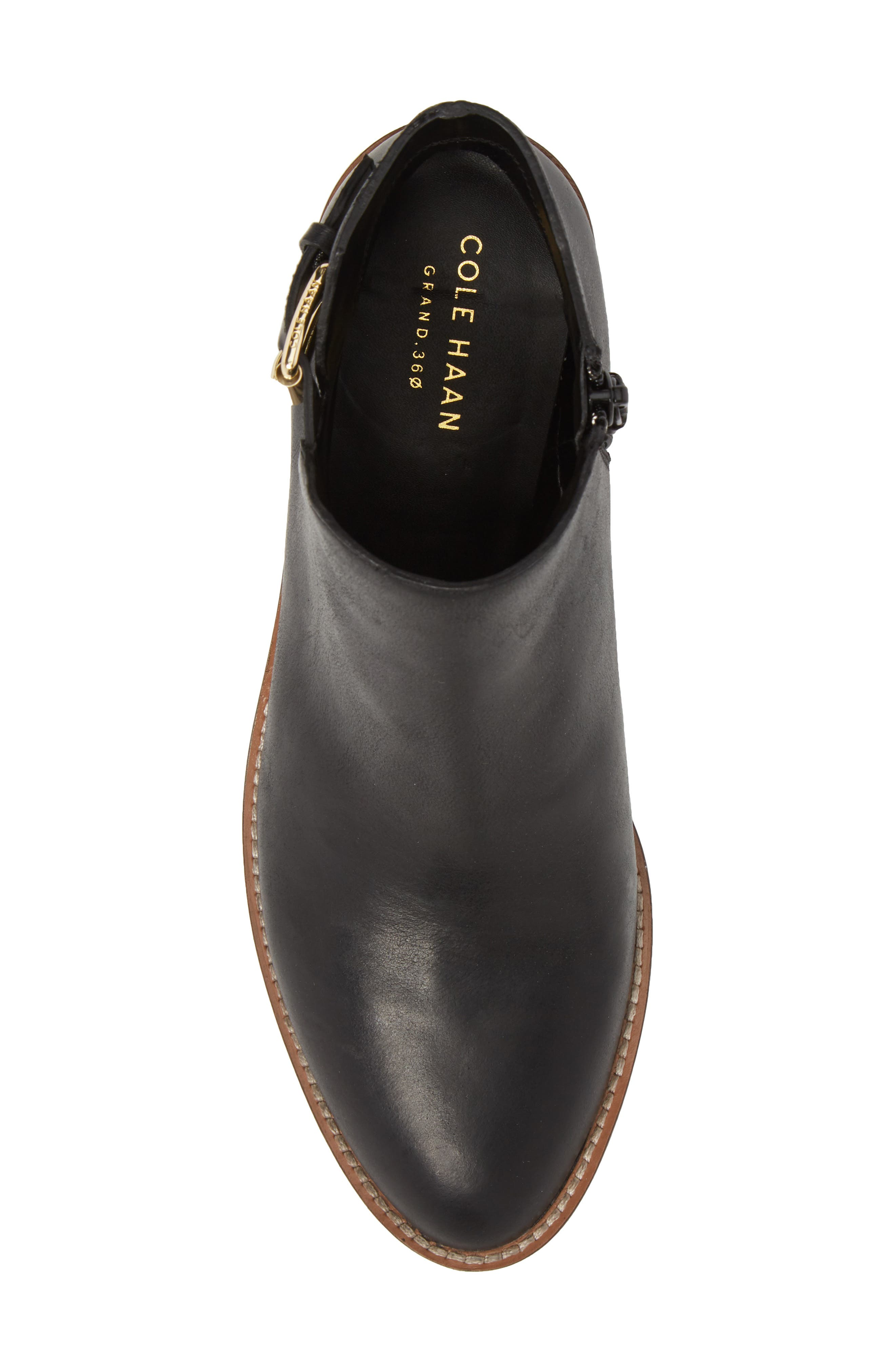 COLE HAAN, Harrington Grand Buckle Bootie, Alternate thumbnail 5, color, BLACK LEATHER