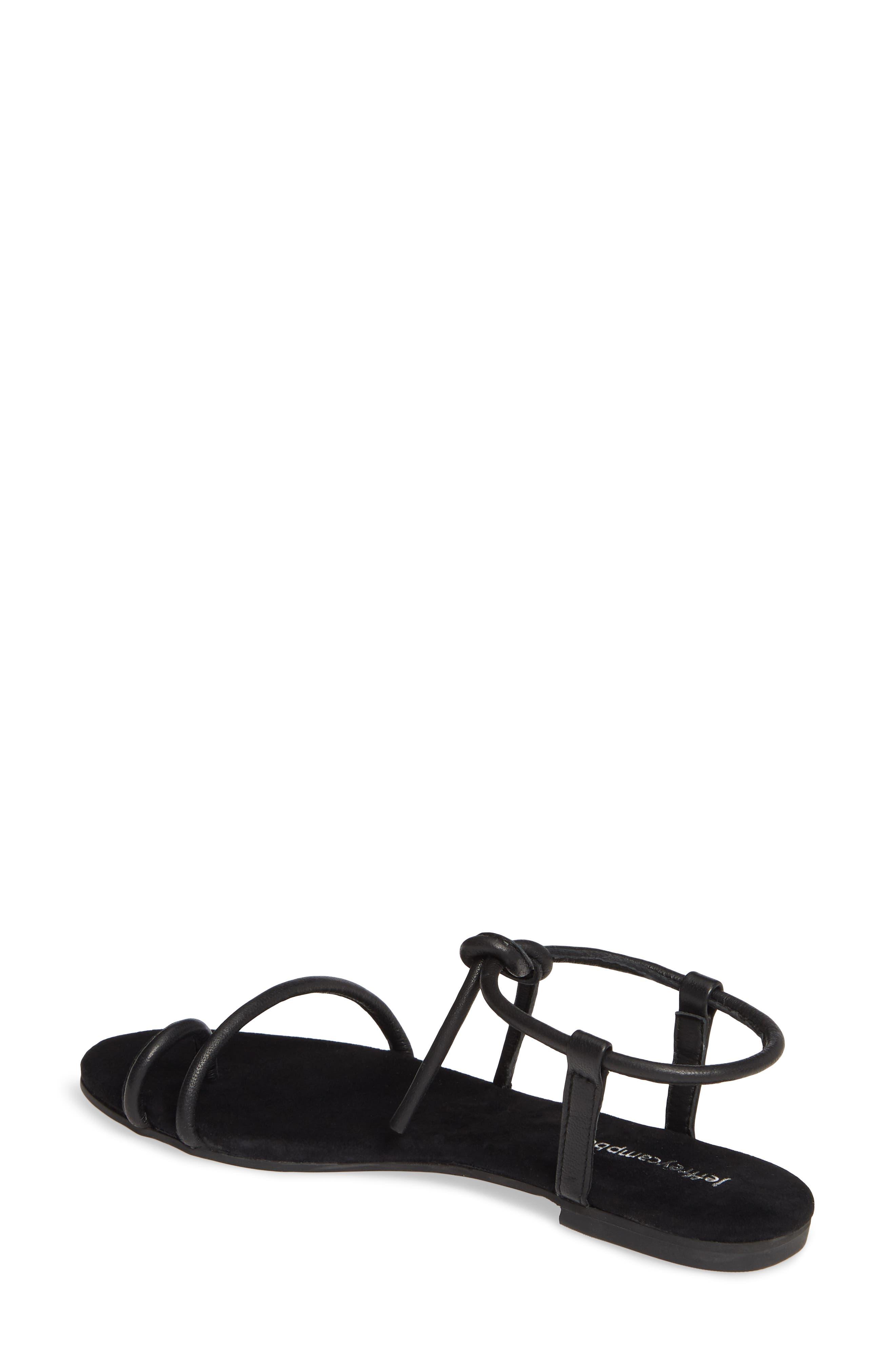 JEFFREY CAMPBELL, Aster Tie Sandal, Alternate thumbnail 2, color, BLACK LEATHER