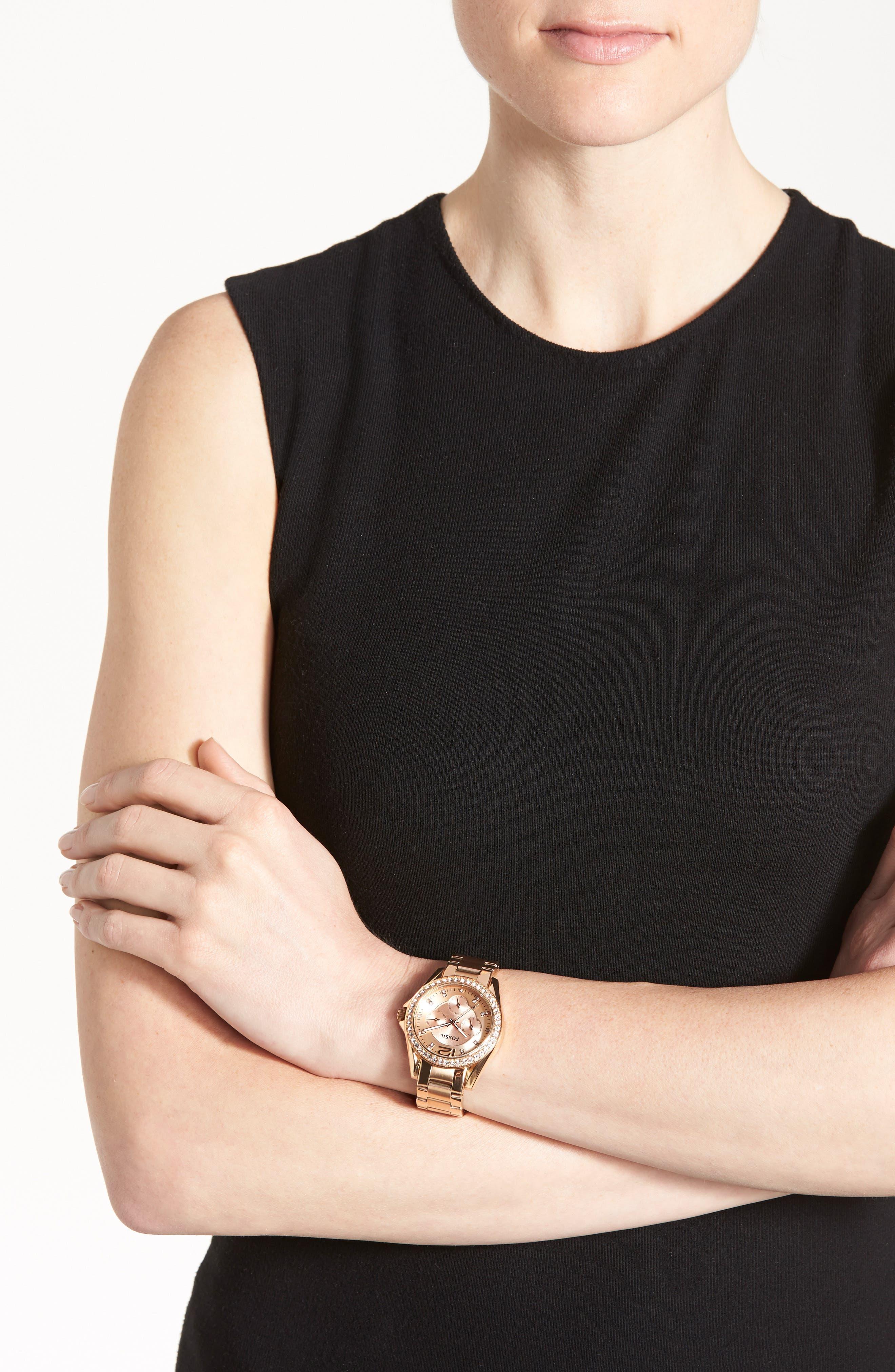 FOSSIL, 'Riley' Round Crystal Bezel Bracelet Watch, 38mm, Alternate thumbnail 5, color, ROSE GOLD