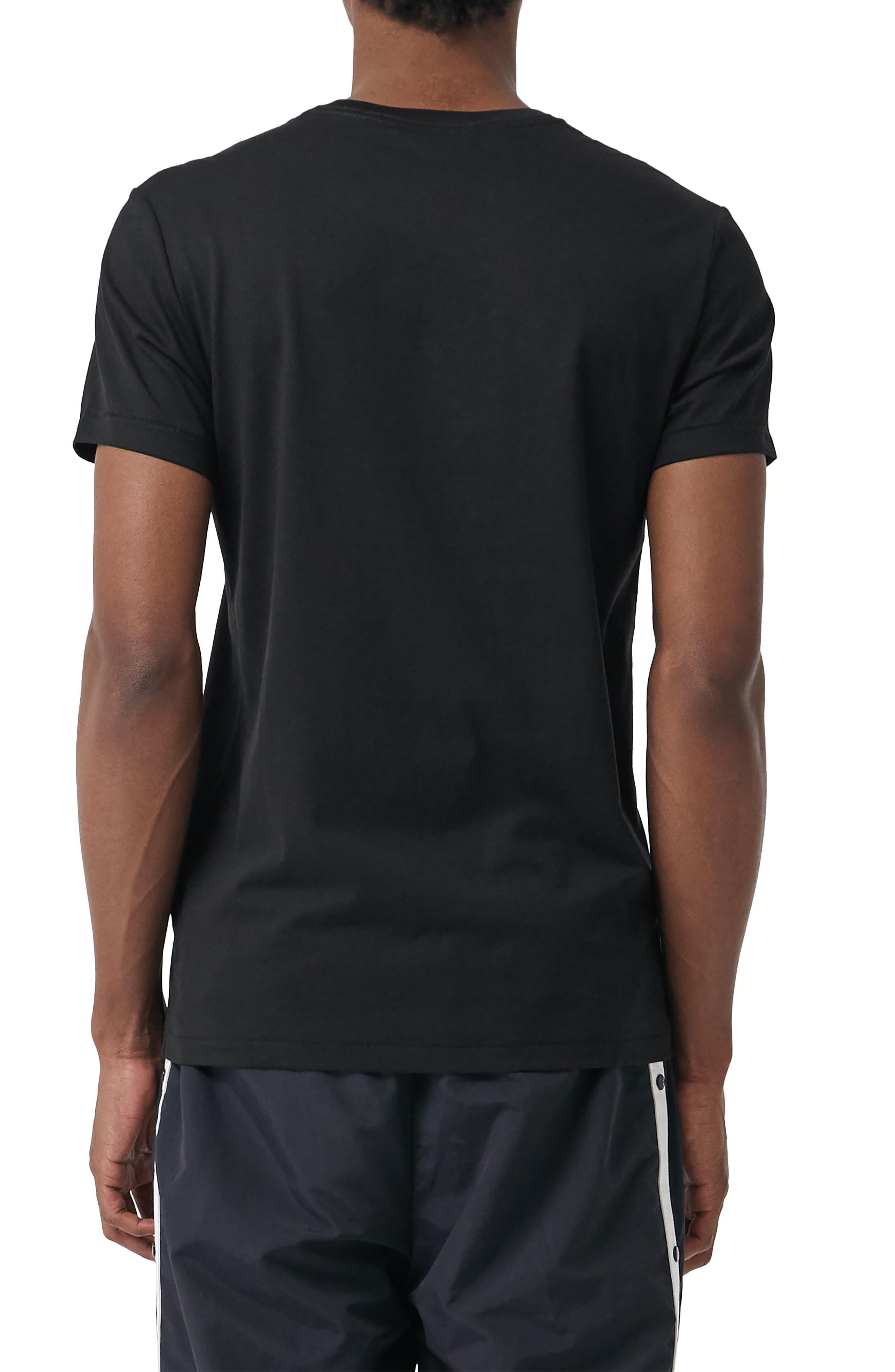 BURBERRY, Logo Embroidered Crewneck T-shirt, Alternate thumbnail 2, color, TRUE BLACK