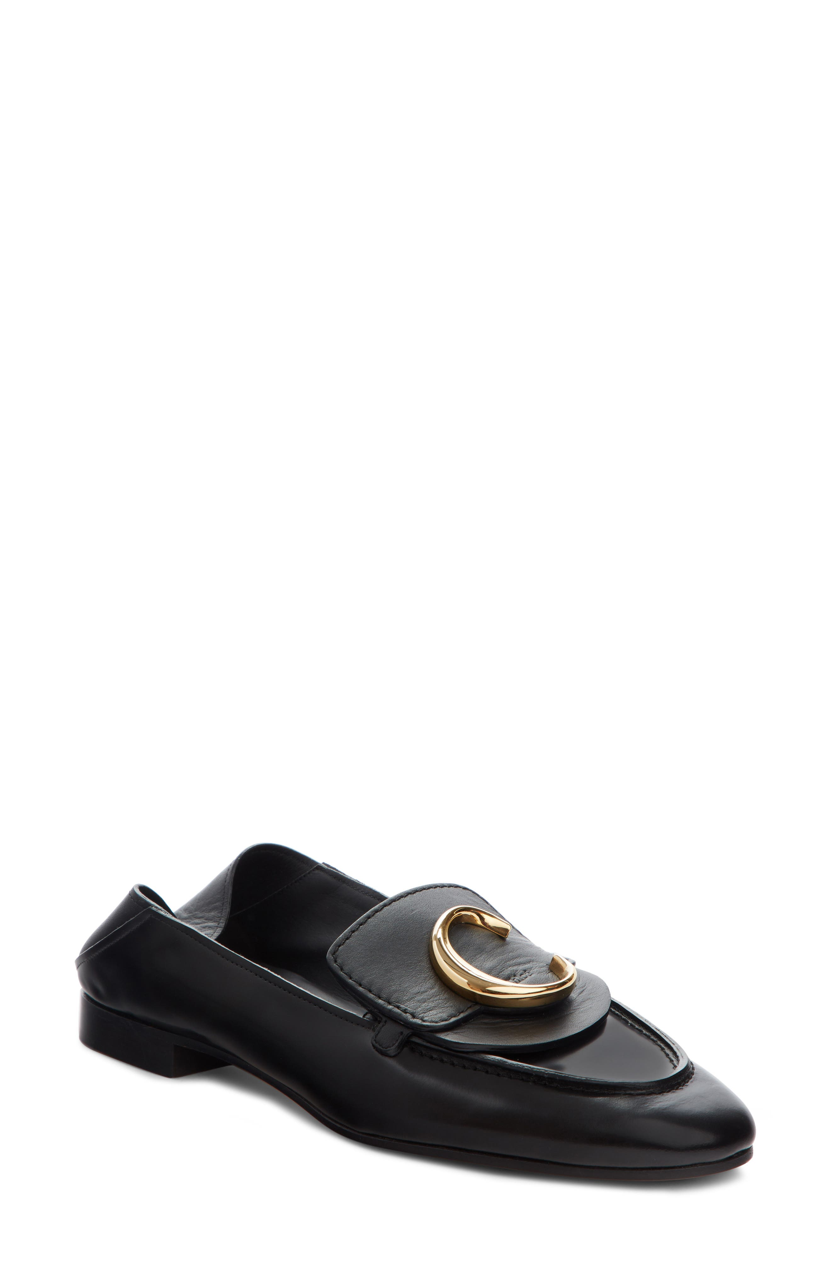 CHLOÉ, Story Convertible Loafer, Main thumbnail 1, color, BLACK LEATHER
