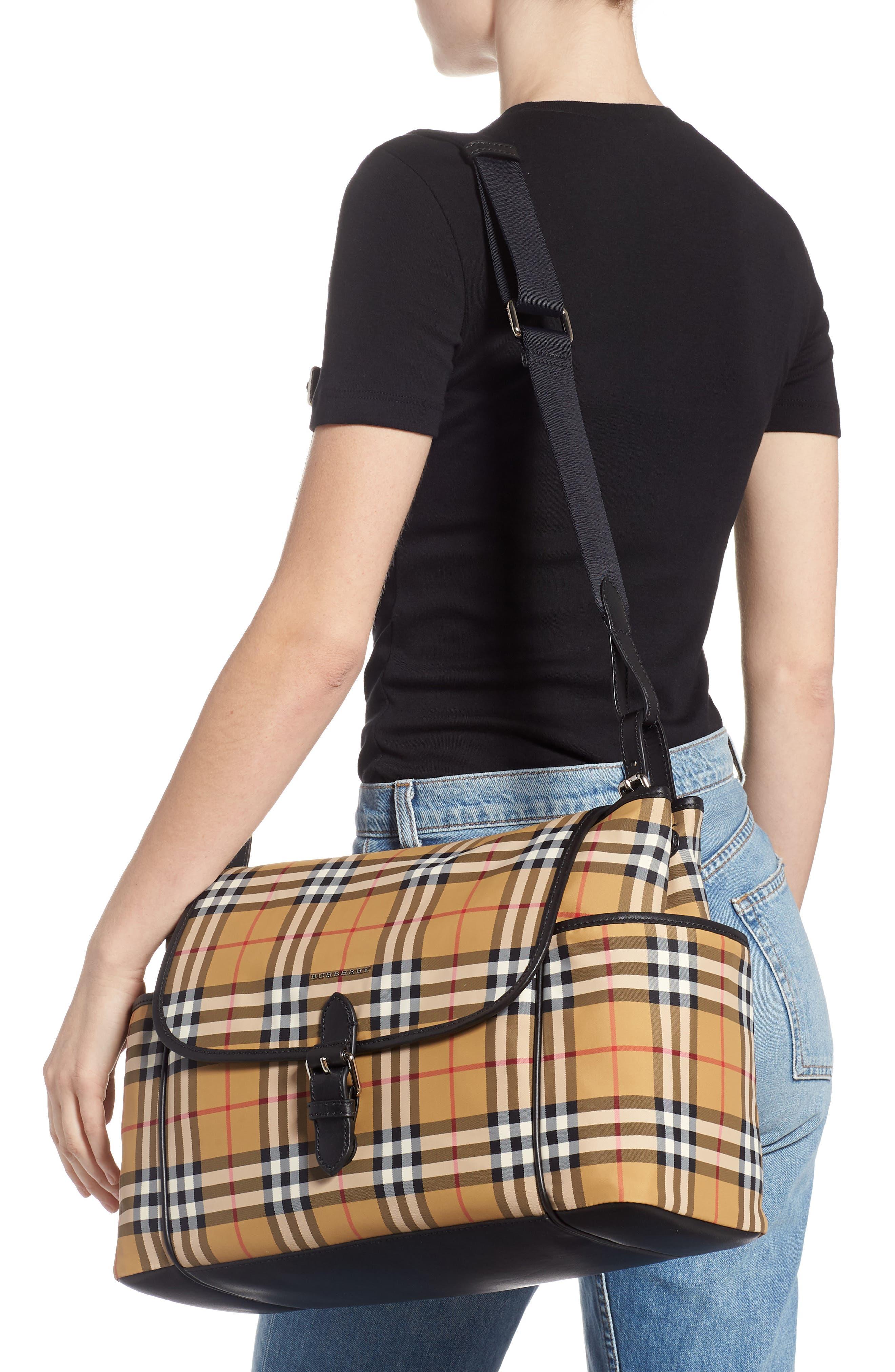 BURBERRY, Flap Diaper Bag, Alternate thumbnail 2, color, ANTIQUE YELLOW/ BLCK