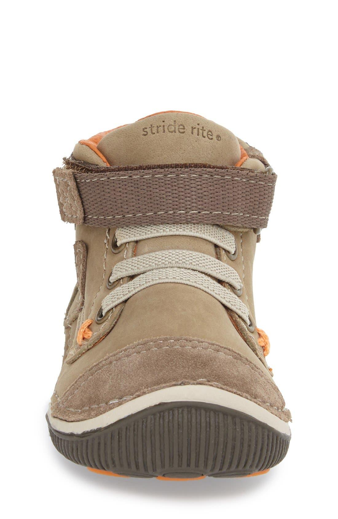 STRIDE RITE, 'Garrett' High Top Bootie Sneaker, Alternate thumbnail 4, color, BROWN