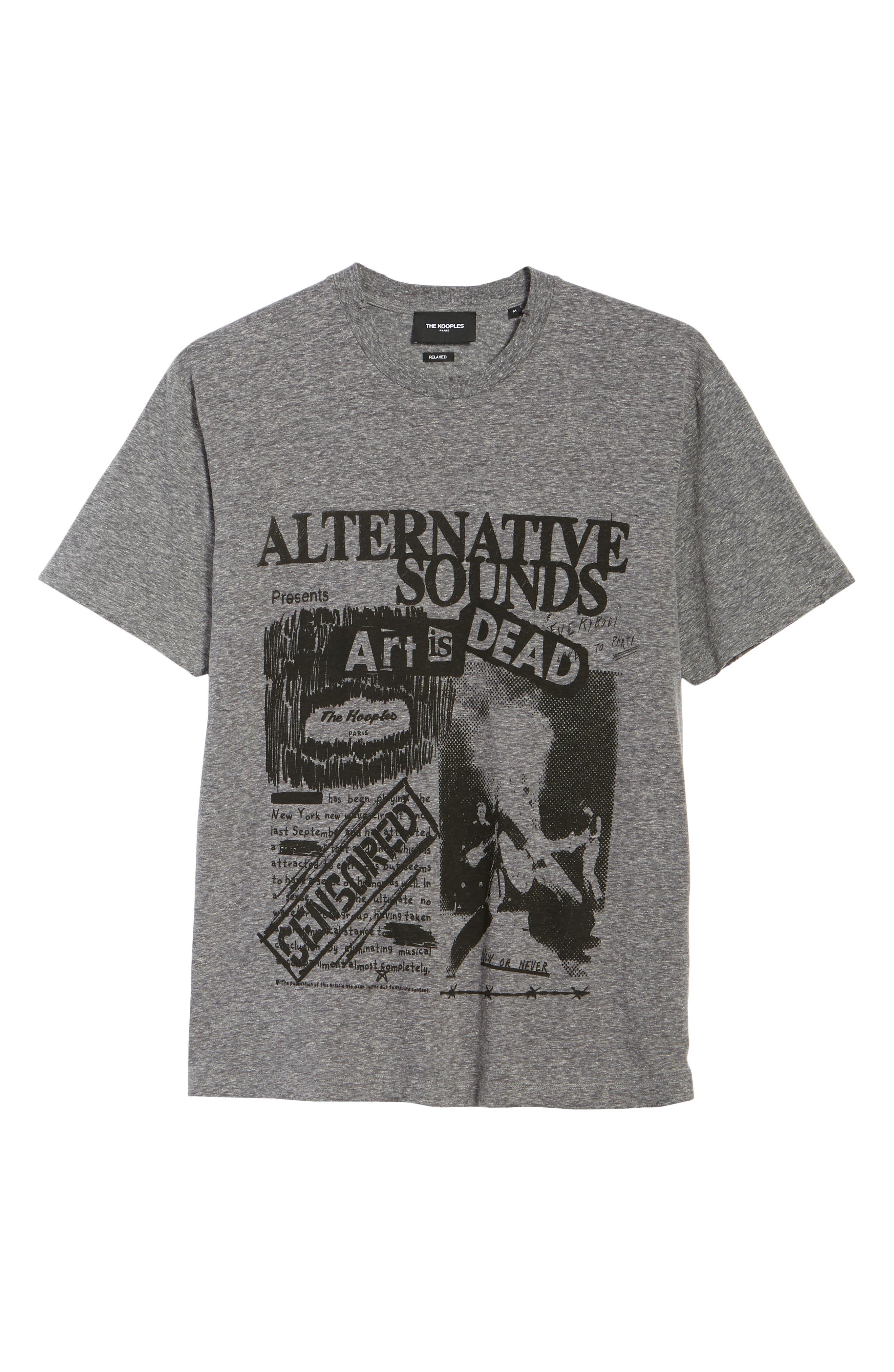 THE KOOPLES, Alternative Sounds Graphic T-Shirt, Alternate thumbnail 6, color, GREY