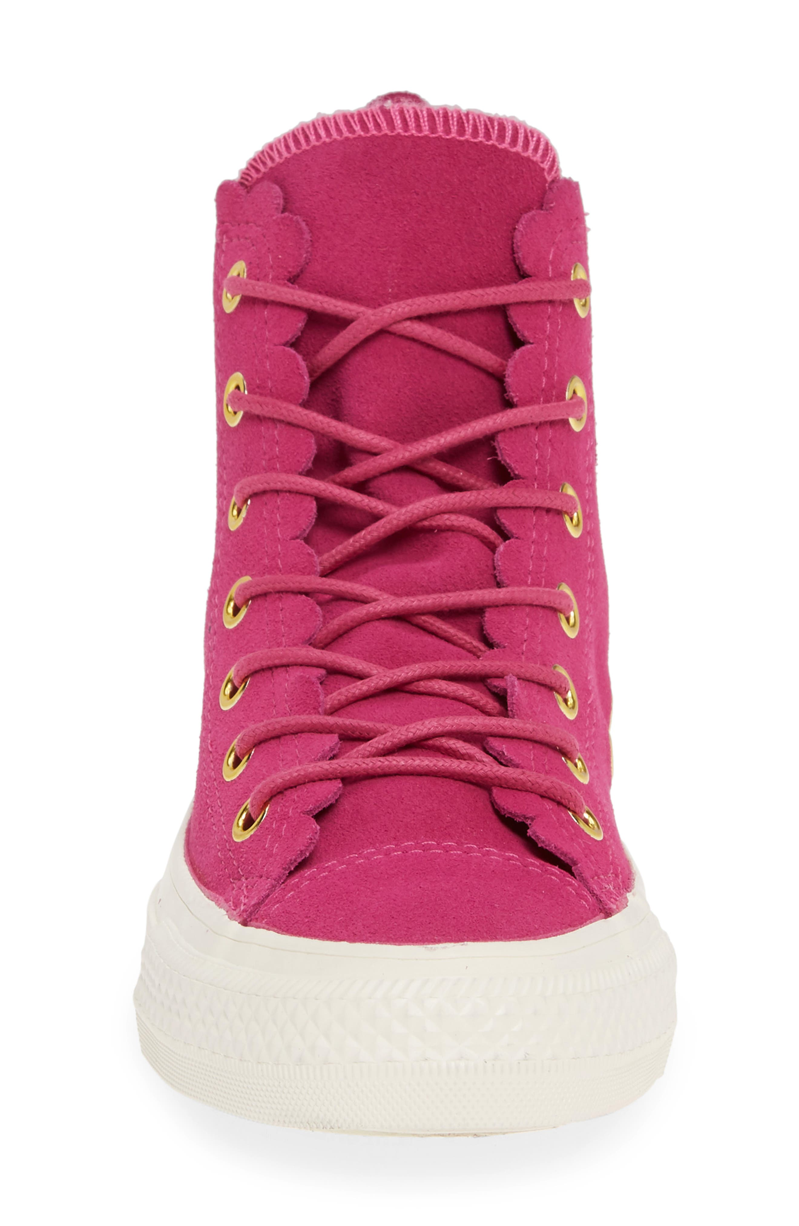 CONVERSE, Chuck Taylor<sup>®</sup> All Star<sup>®</sup> Scallop High Top Suede Sneaker, Alternate thumbnail 4, color, ACTIVE FUCHSIA/ GOLD/ EGRET