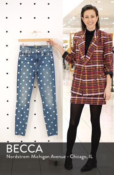 Polka Dot High Waist Ankle Skinny Jeans, sales video thumbnail