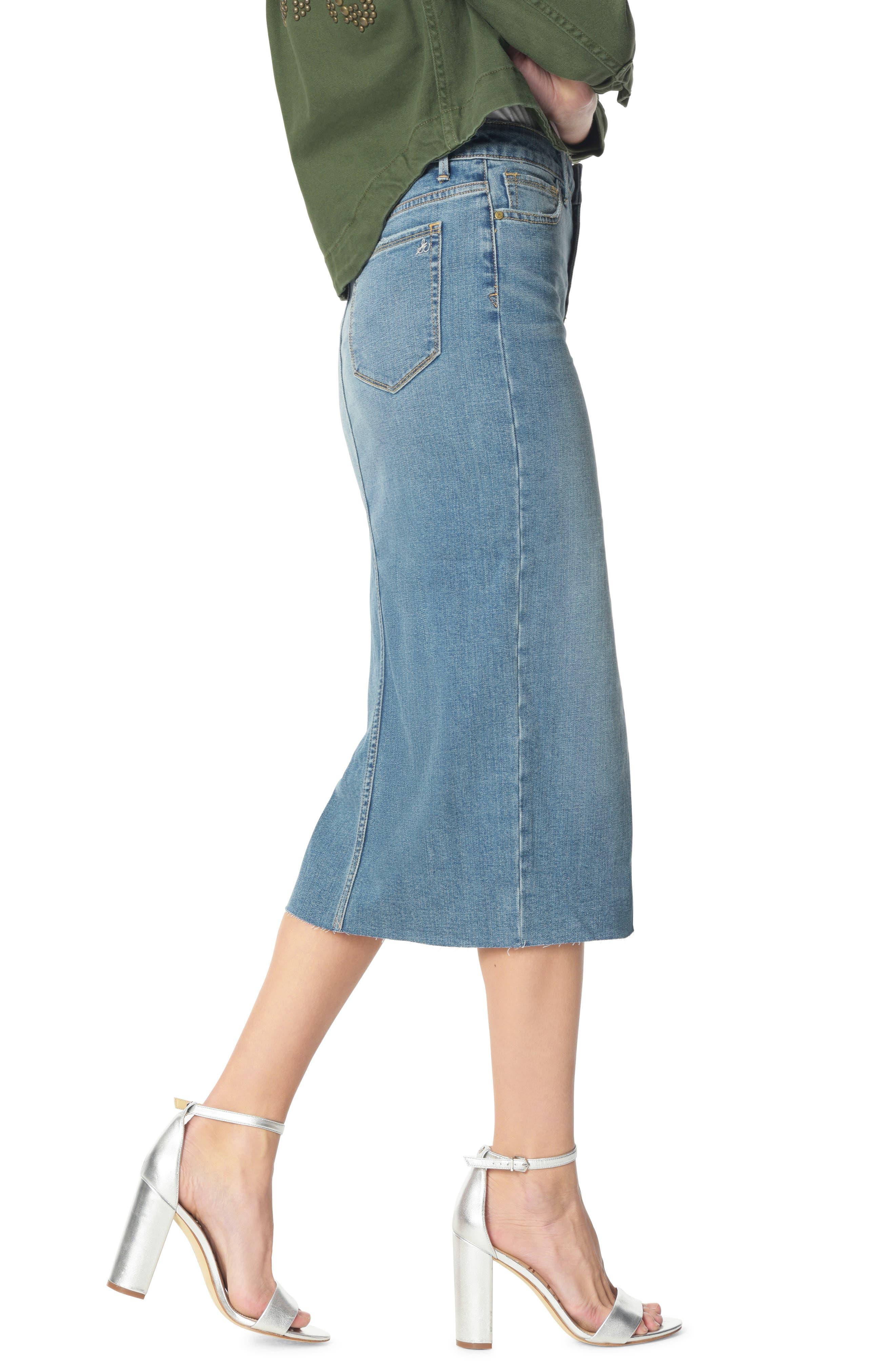 SAM EDELMAN, The Maribelle Mid Rise Denim Skirt, Alternate thumbnail 3, color, 421