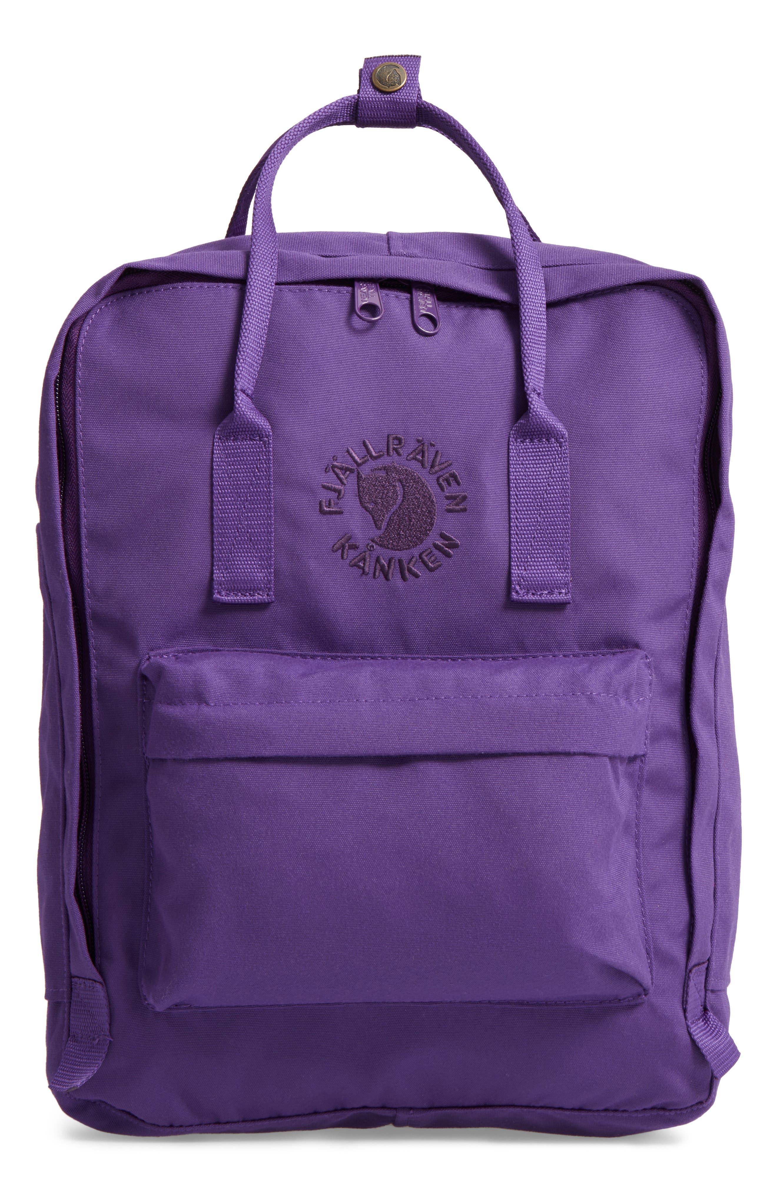 FJÄLLRÄVEN, Re-Kånken Water Resistant Backpack, Main thumbnail 1, color, DEEP VIOLET