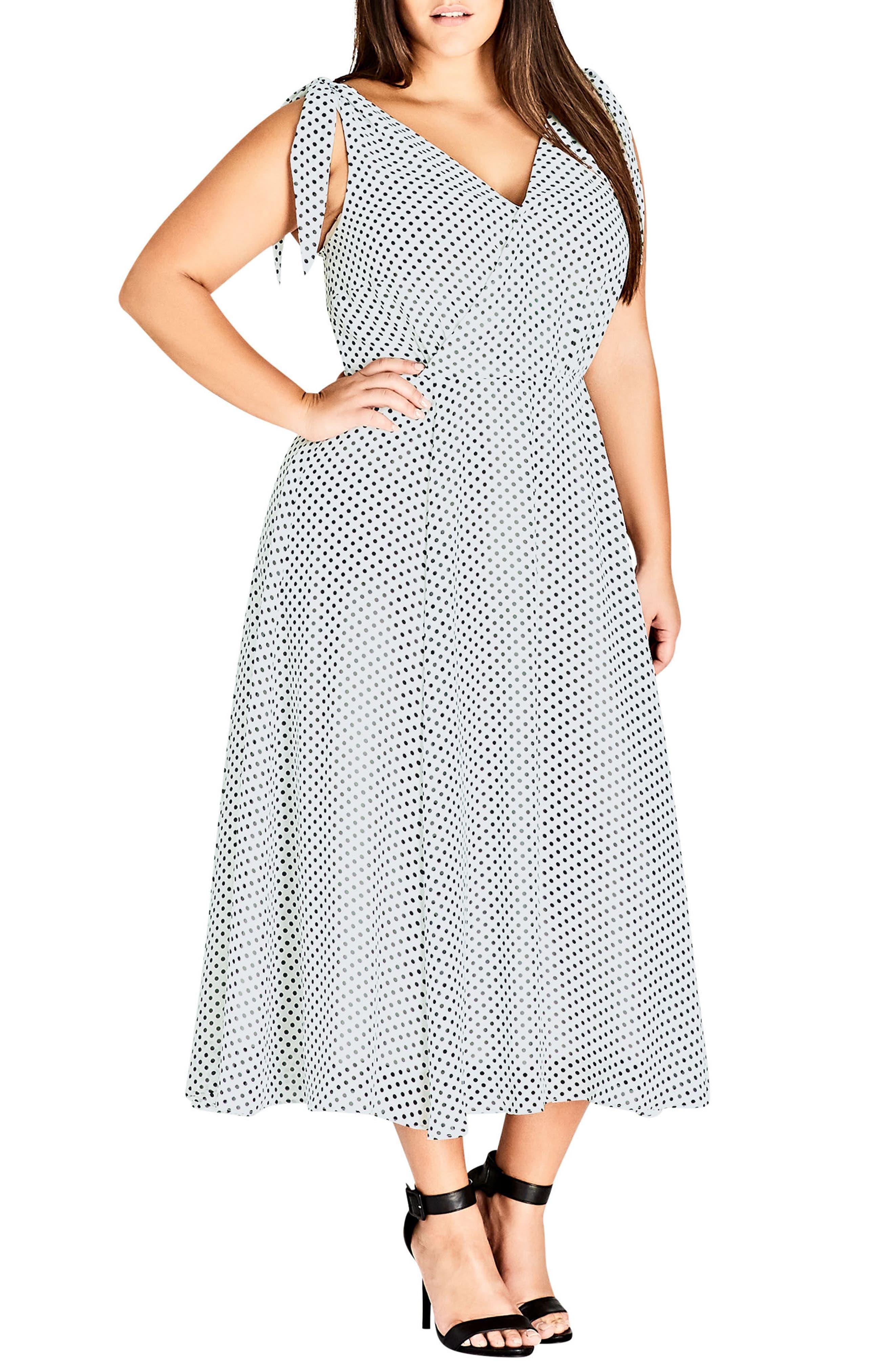 CITY CHIC, Alika Dot Fit & Flare Dress, Alternate thumbnail 6, color, IVORY