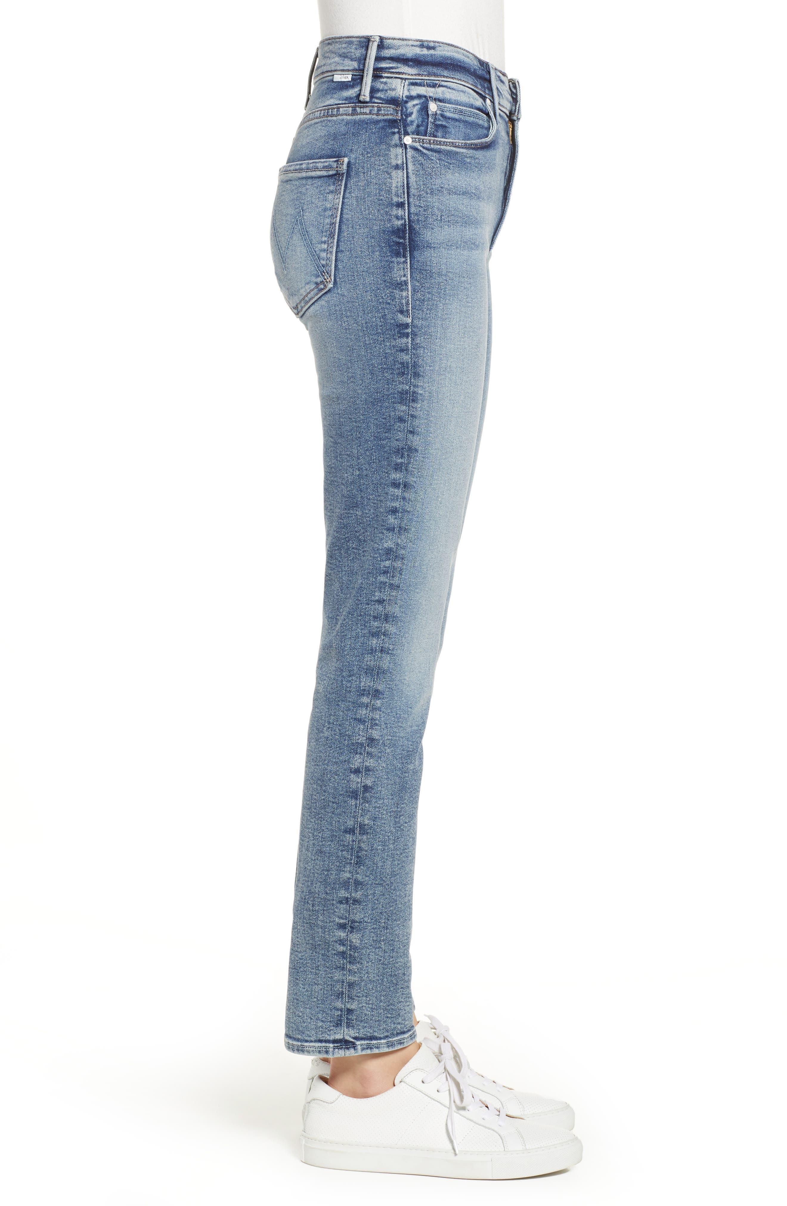 MOTHER, Dazzler High Waist Ankle Straight Leg Jeans, Alternate thumbnail 4, color, 451