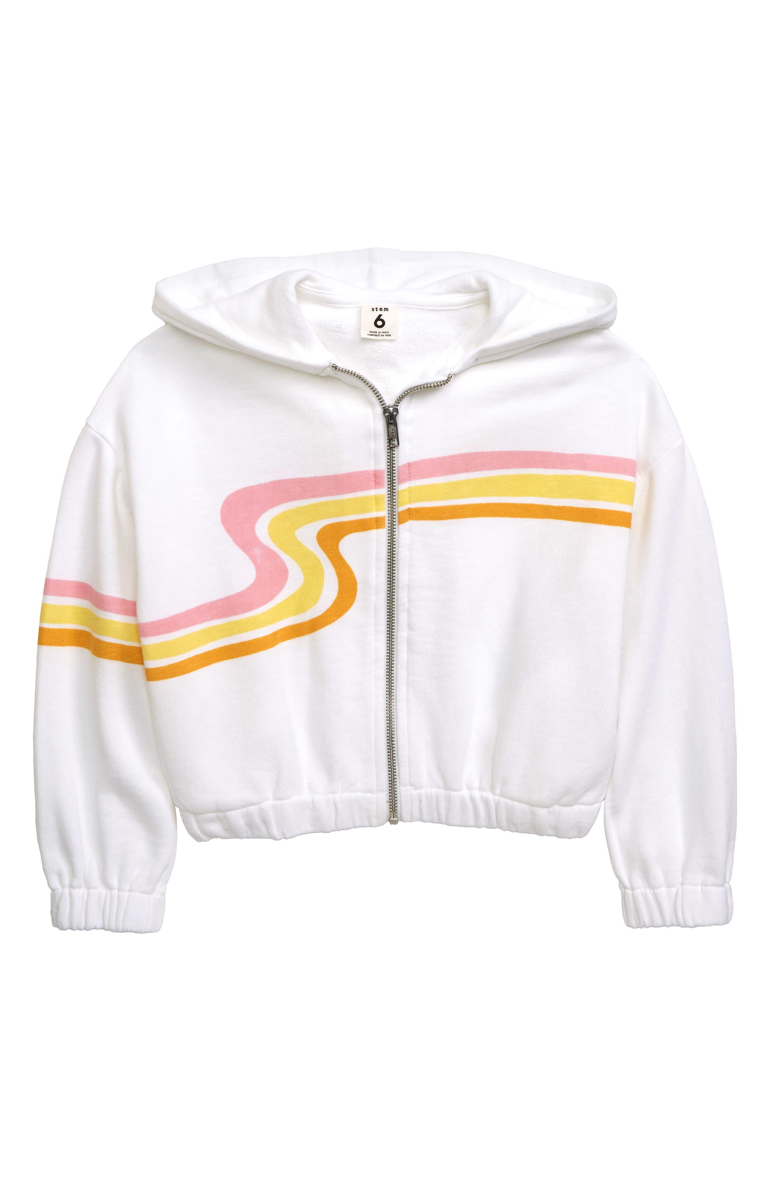 Toddler Girls Stem Swirl Stripe Zip Hoodie Size 3T  White