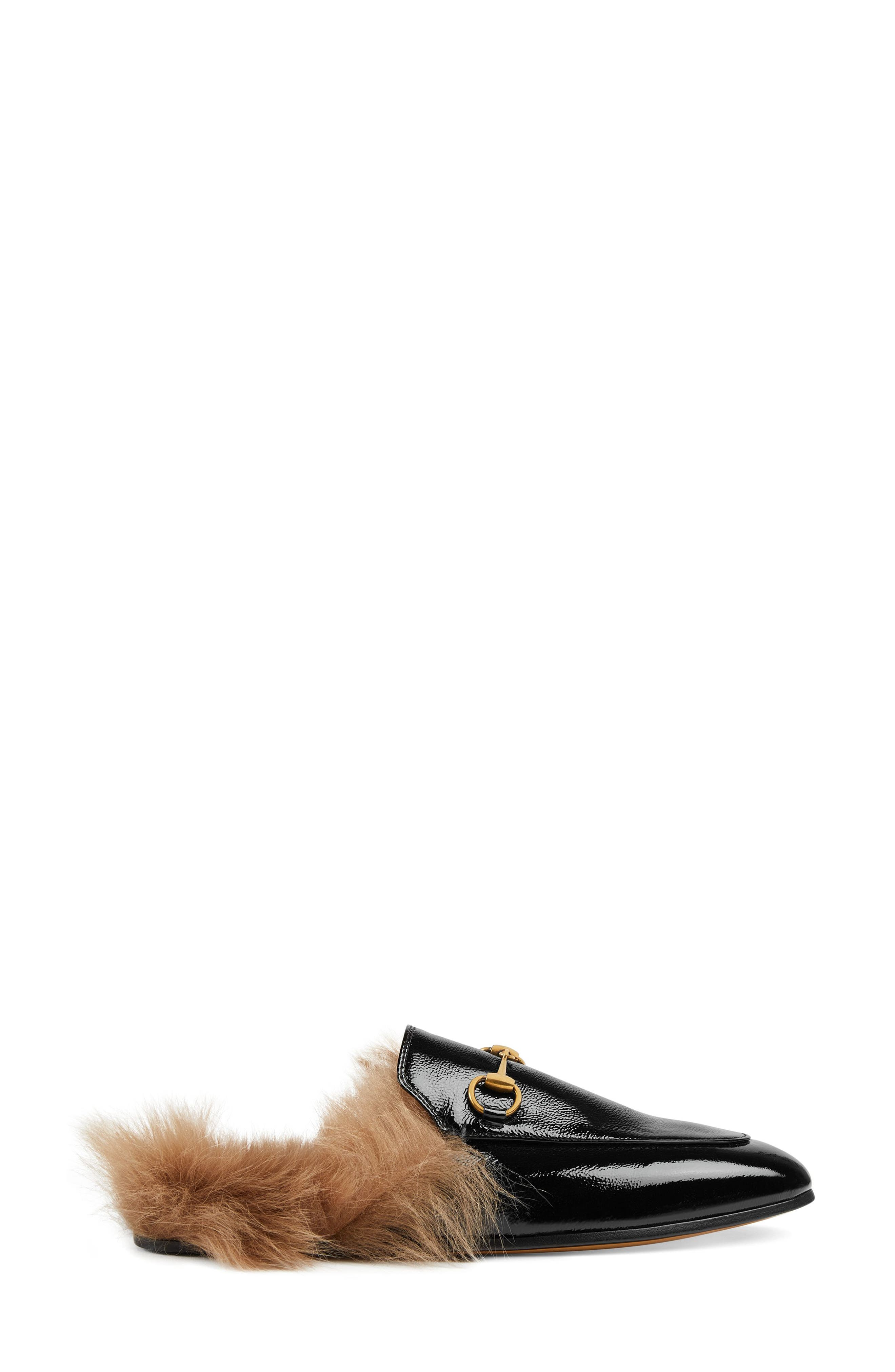 GUCCI, Princetown Genuine Shearling Loafer Mule, Alternate thumbnail 2, color, BLACK PATENT
