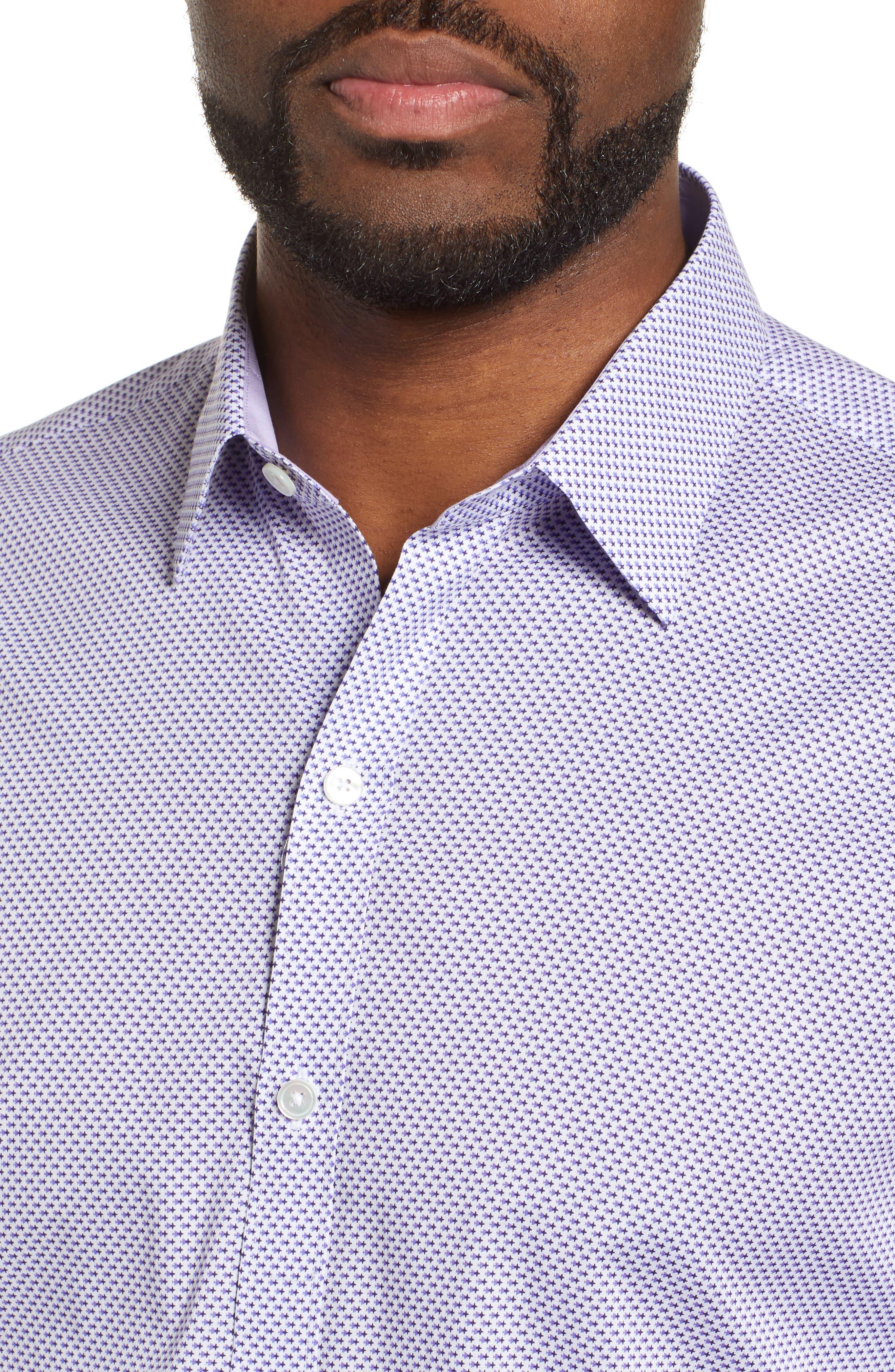 ZACHARY PRELL, Wilson Regular Fit Micro Print Sport Shirt, Alternate thumbnail 2, color, PURPLE
