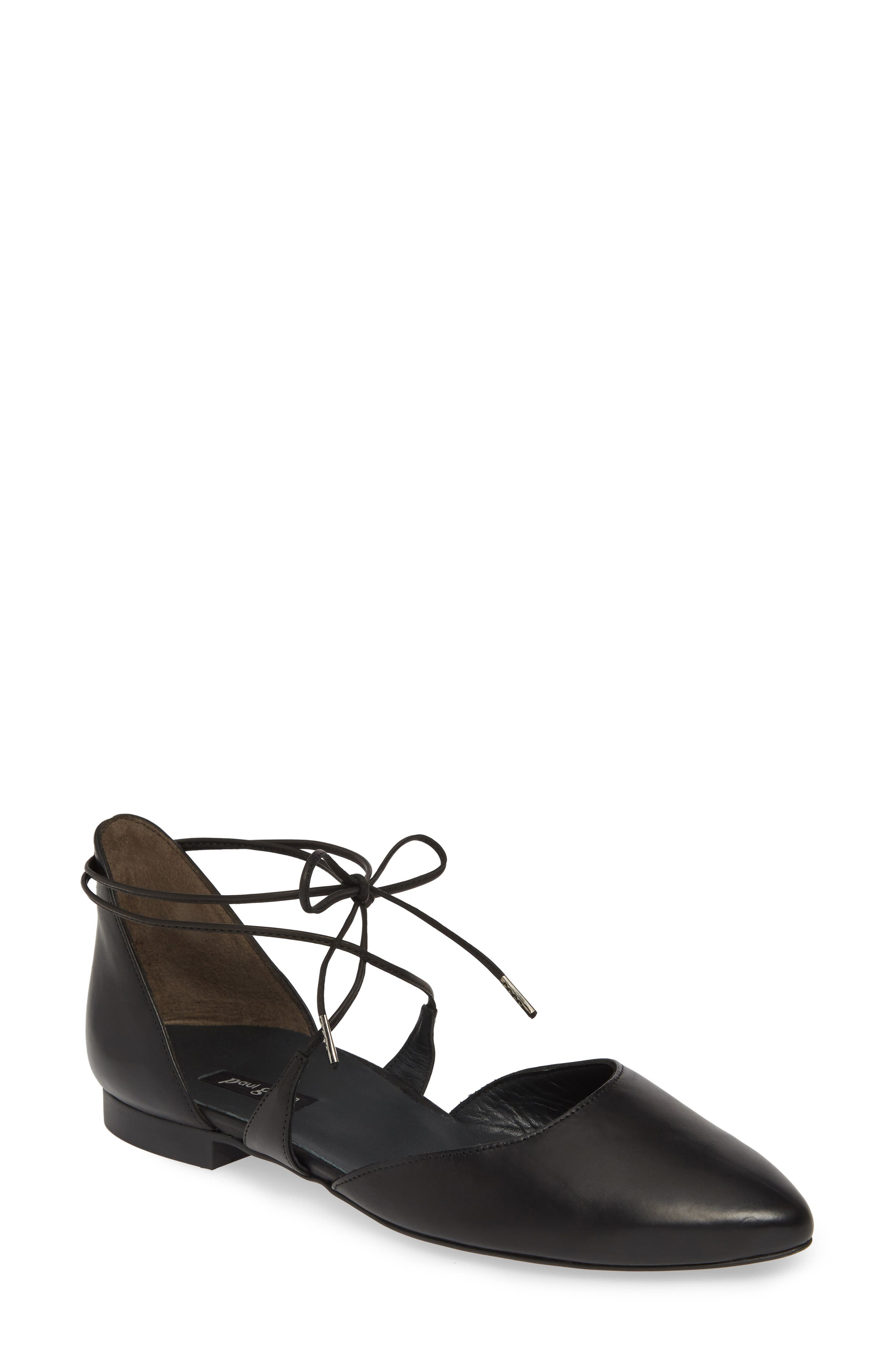 PAUL GREEN, Lace Up Flat, Main thumbnail 1, color, BLACK LEATHER