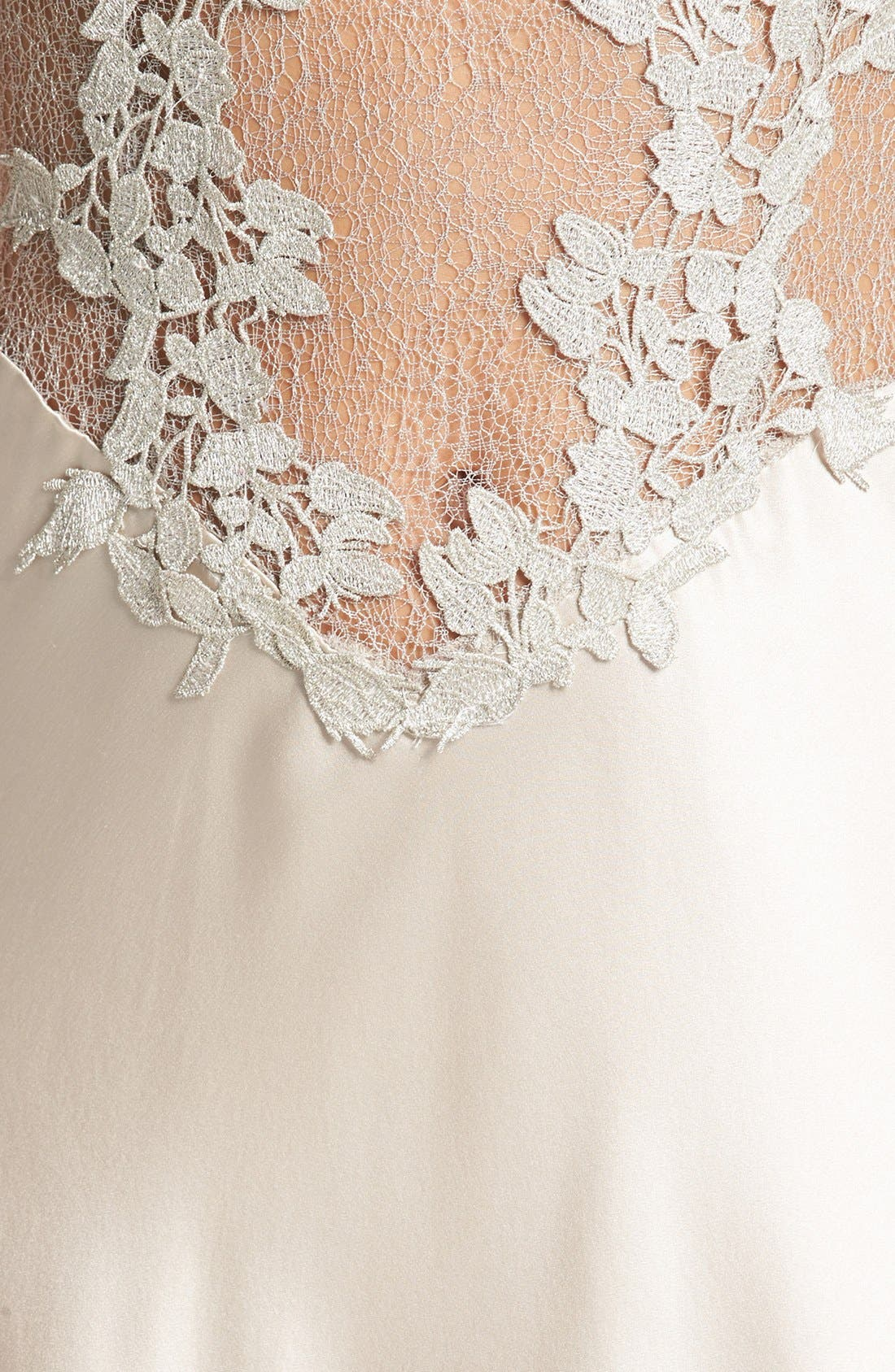 FLORA NIKROOZ, Showstopper Nightgown, Alternate thumbnail 8, color, CHAMPAGNE