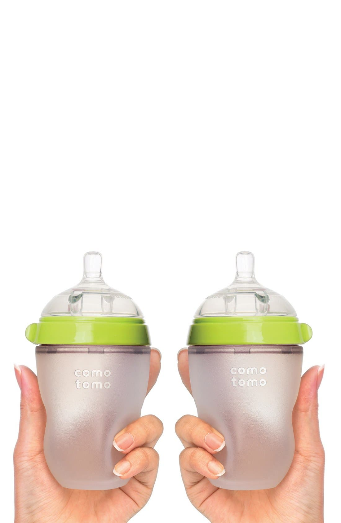 COMOTOMO, Set of 2 Baby Bottles, Alternate thumbnail 2, color, GREEN