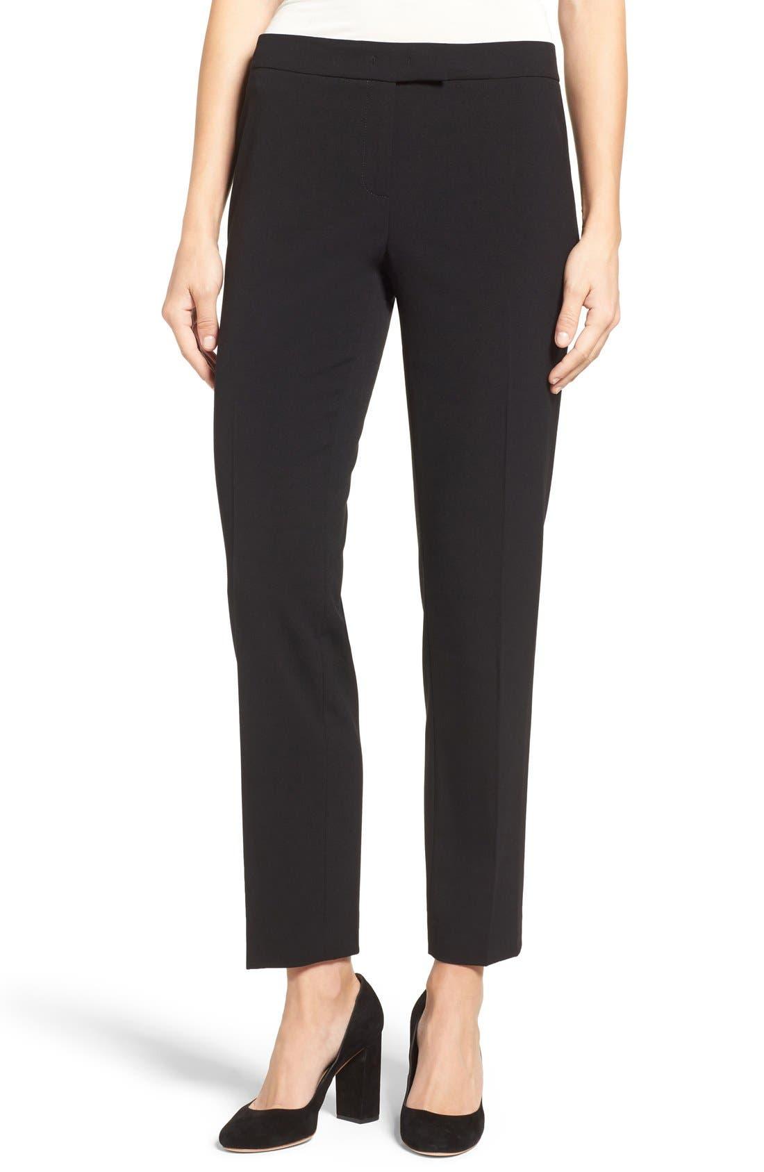 ANNE KLEIN, Slim Suit Pants, Alternate thumbnail 5, color, 001