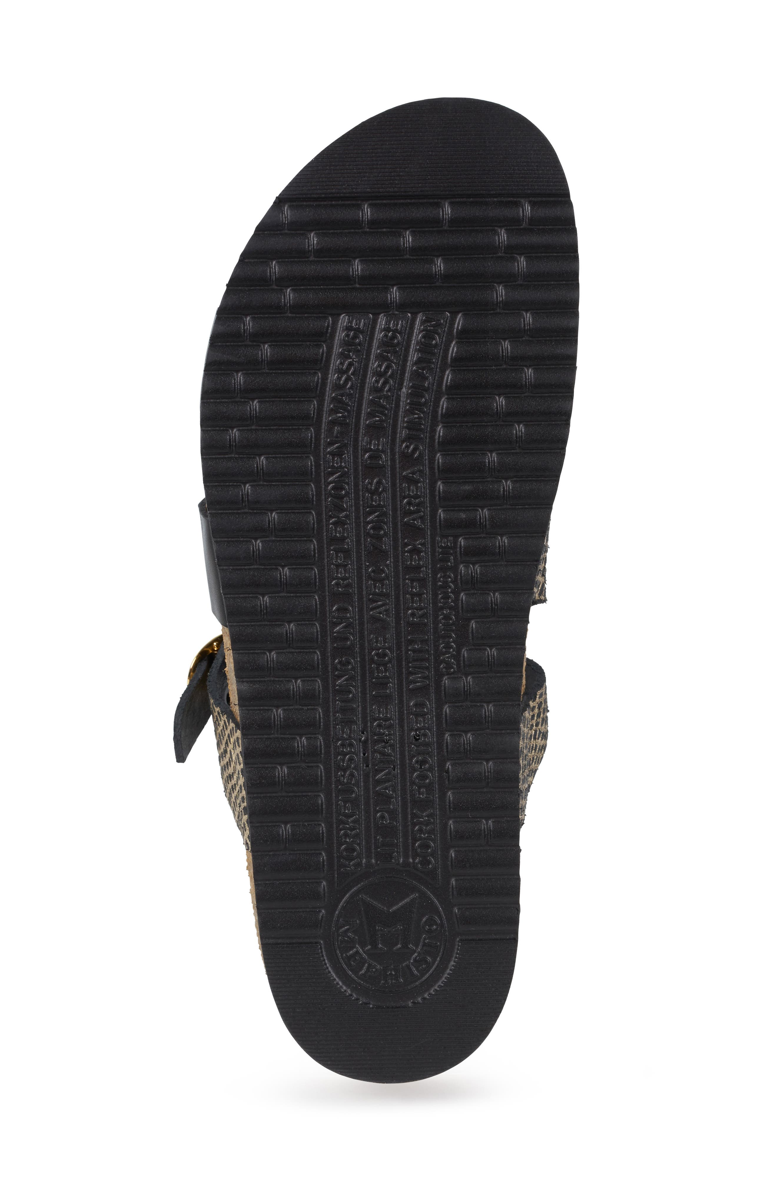 MEPHISTO, 'Hannel' Sandal, Alternate thumbnail 6, color, BLACK CUBA WAXY LEATHER