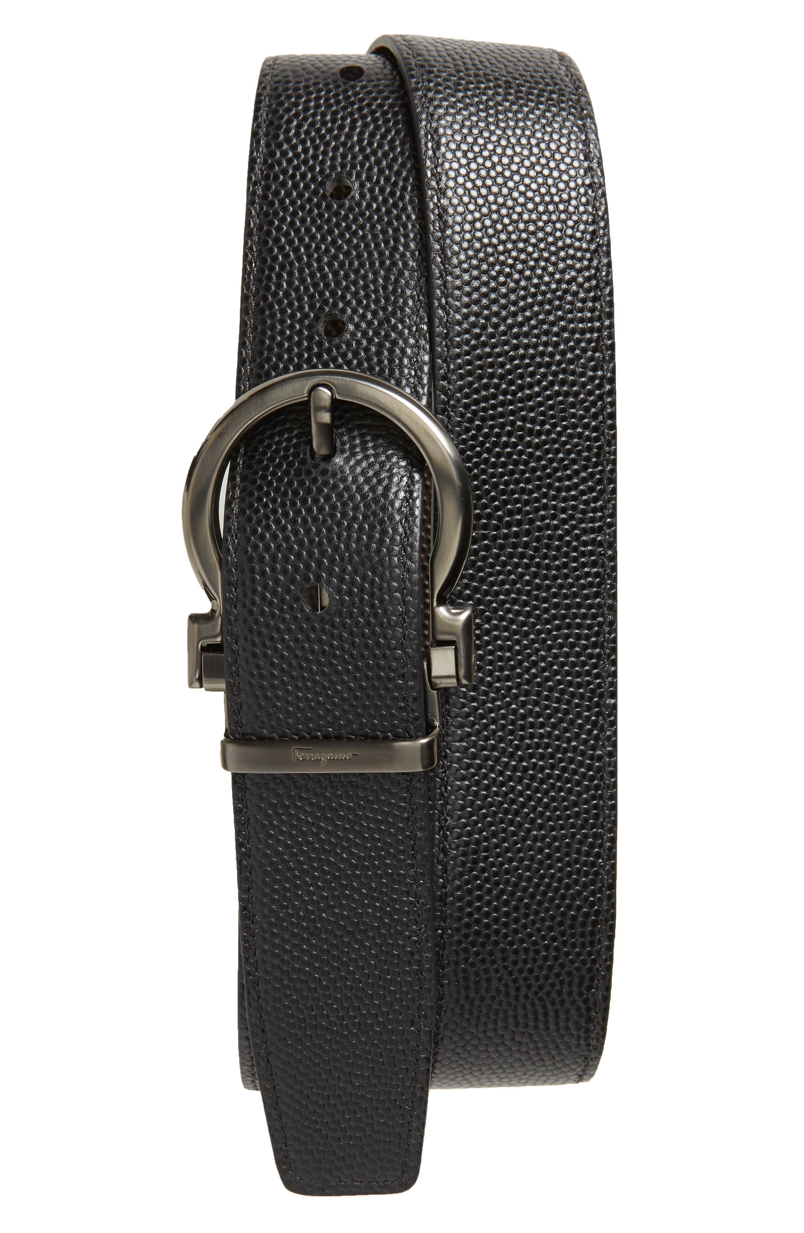 SALVATORE FERRAGAMO, Salvatore Ferragaom Reversible Leather Belt, Alternate thumbnail 2, color, CHOCOLATE/ BLACK
