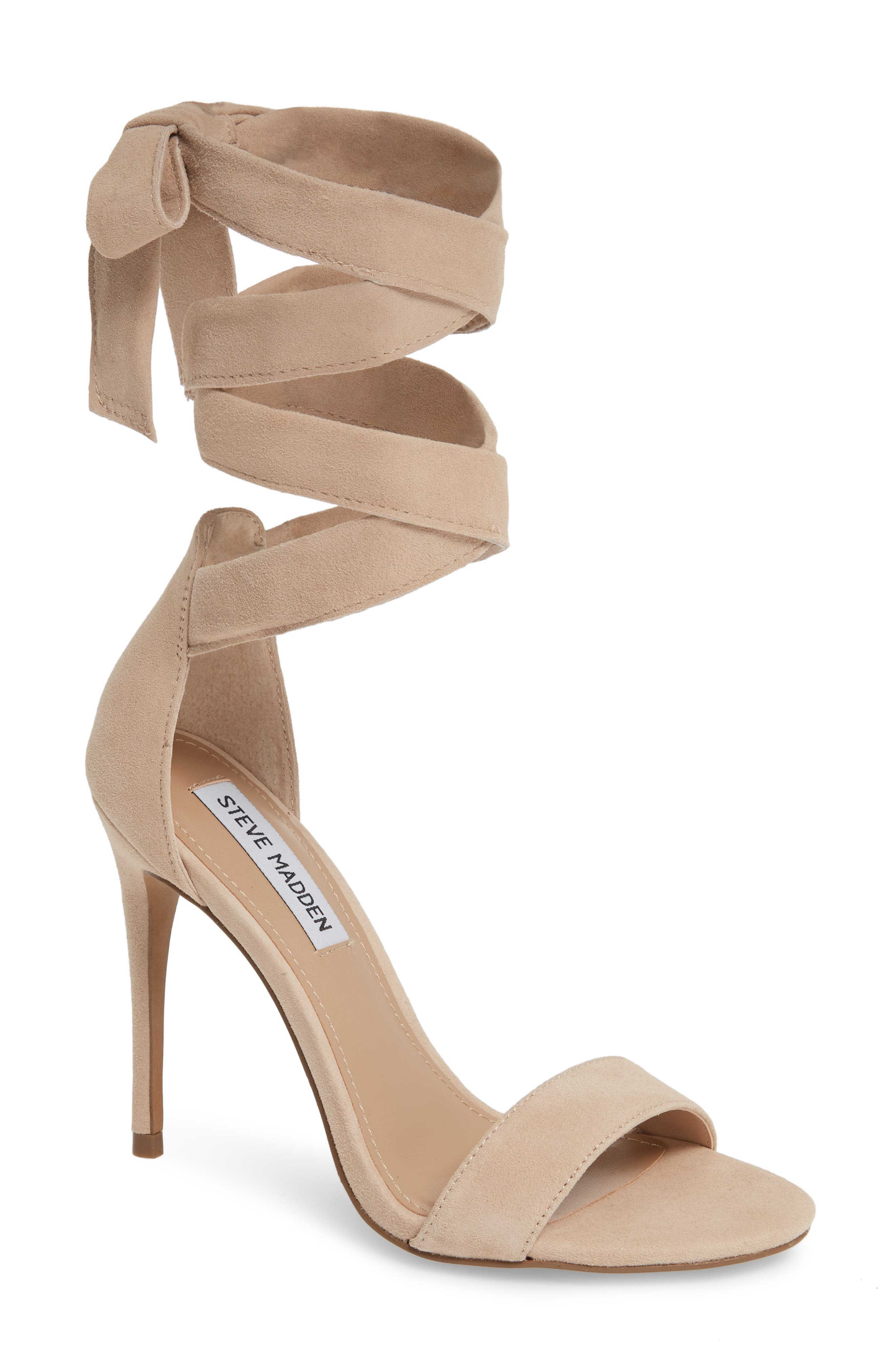 STEVE MADDEN Entertainment Wraparound Sandal, Main, color, BLUSH SUEDE