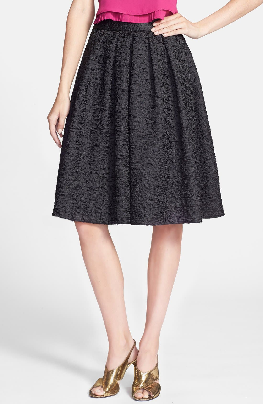 ASTR THE LABEL ASTR Textured Pleat Skirt, Main, color, 001