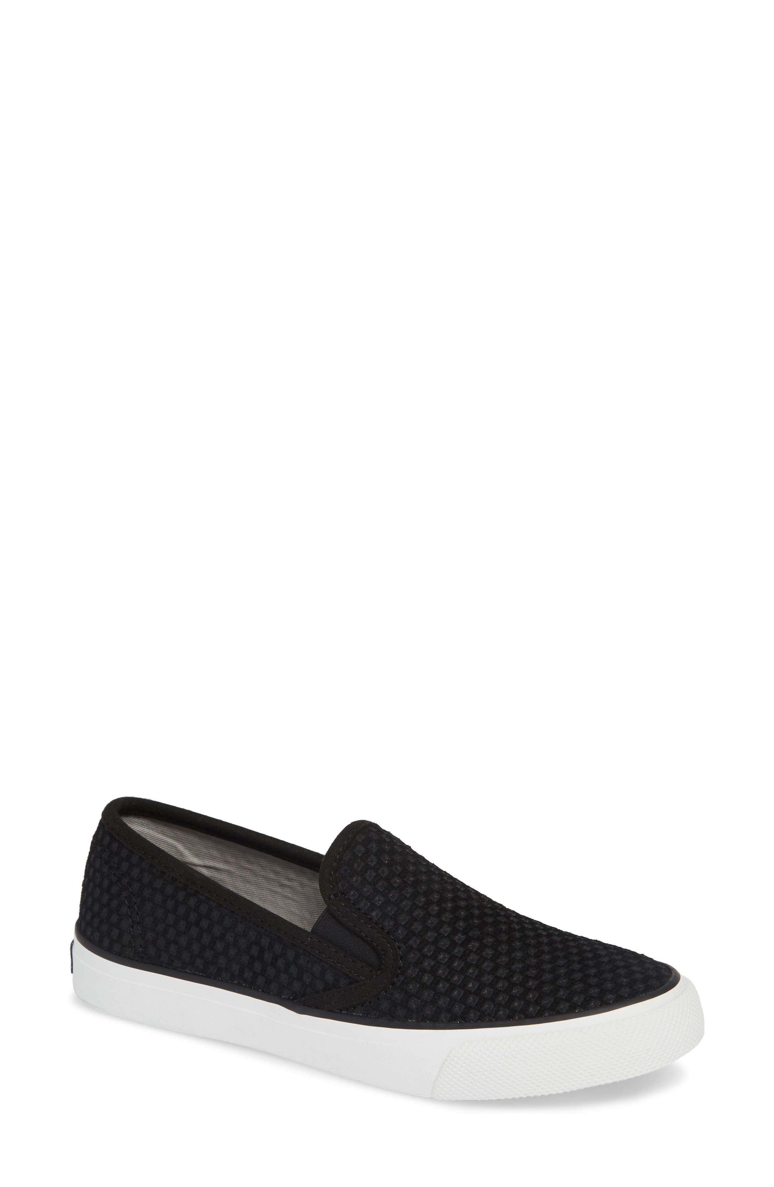 SPERRY, Seaside Embossed Slip-On Sneaker, Main thumbnail 1, color, BLACK CANVAS