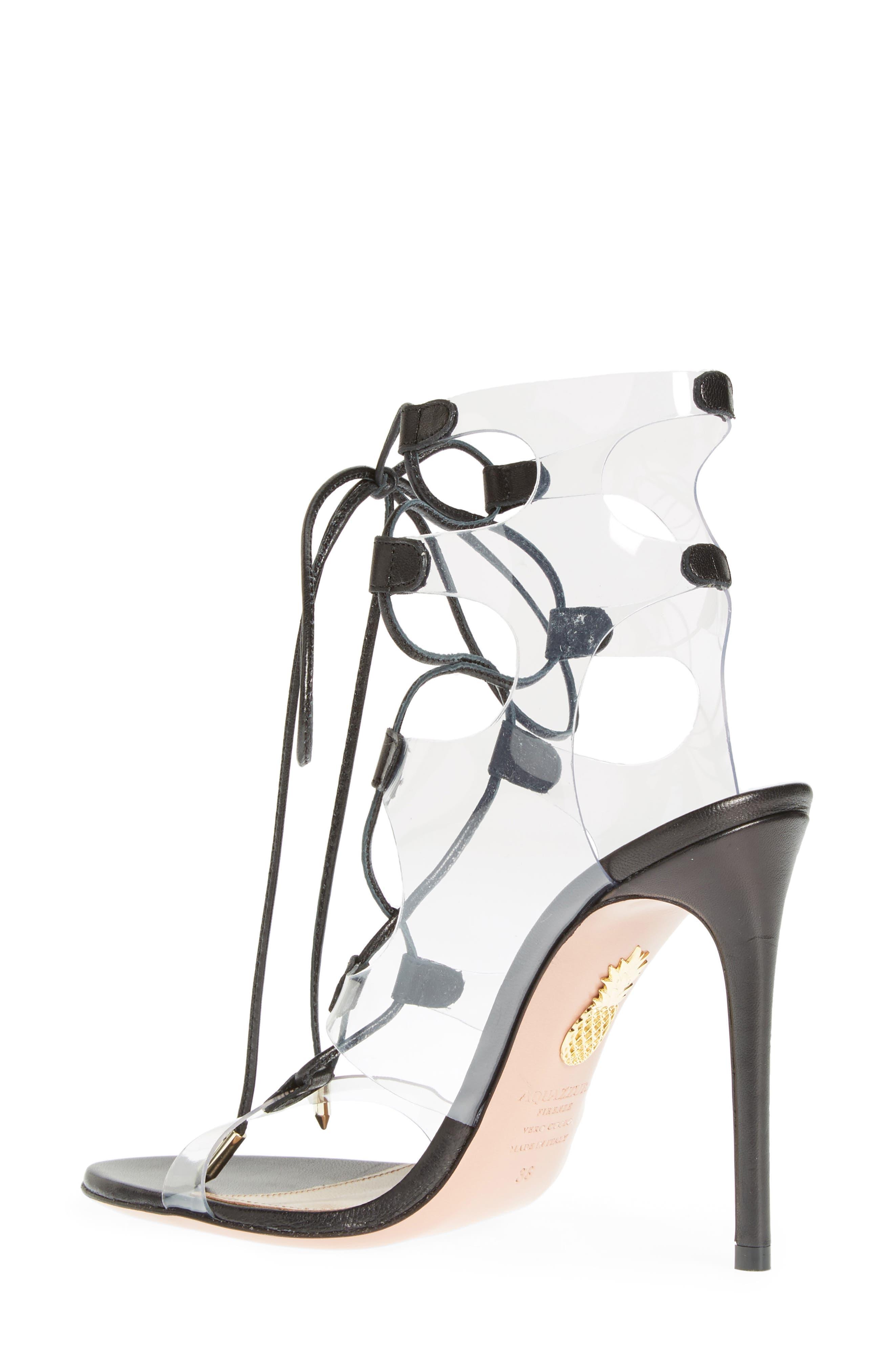 AQUAZZURA, Milos PVC Lace-Up Sandal, Alternate thumbnail 2, color, BLACK