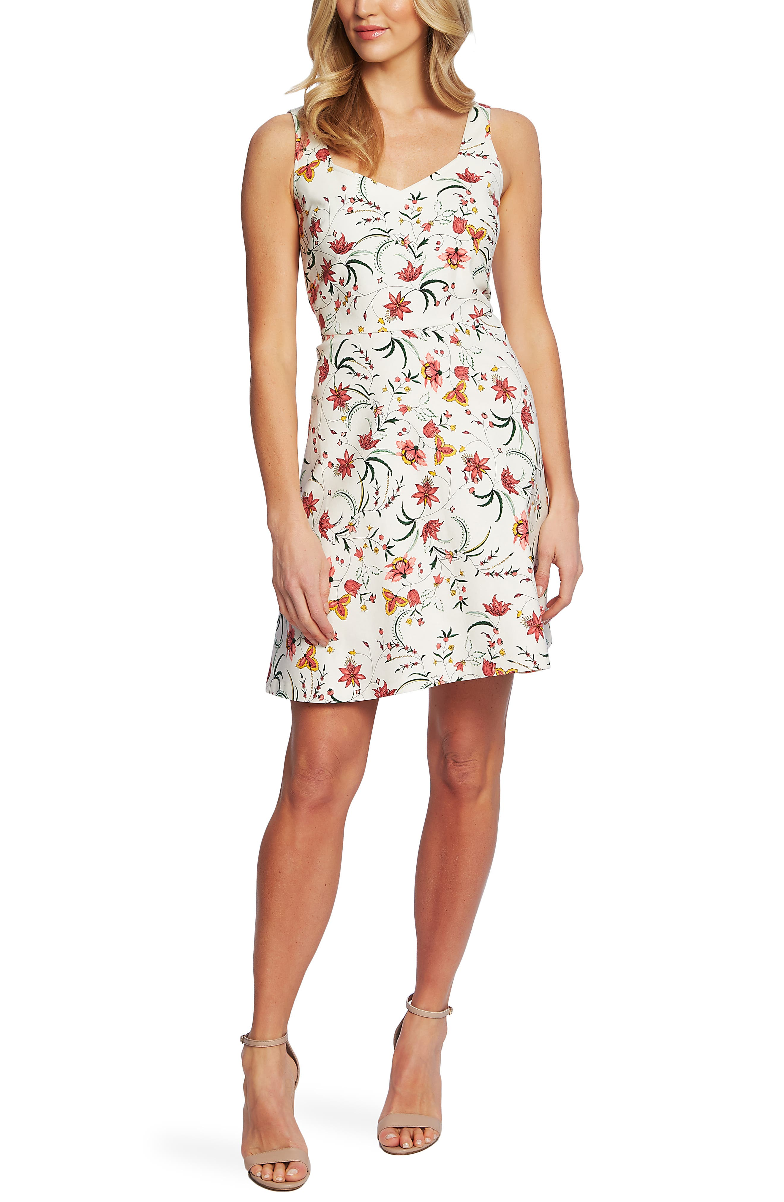 Cece Marrakesh Ink Floral Print Sleeveless Stretch Cotton Dress, Ivory