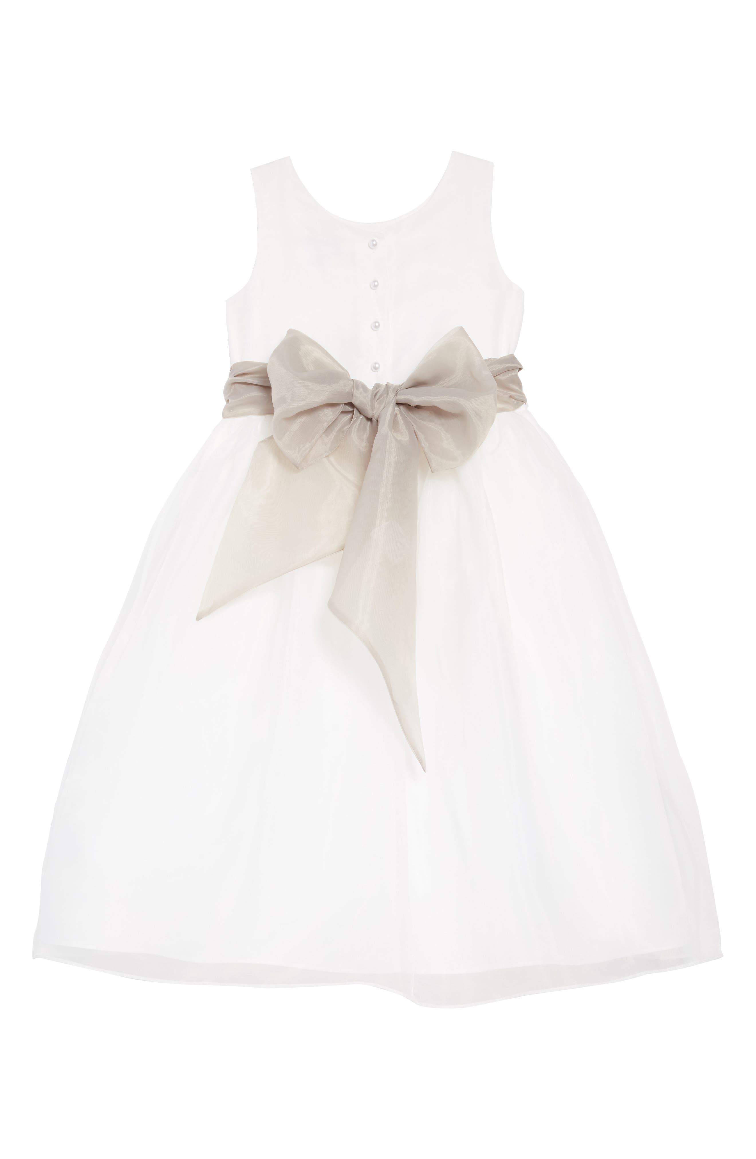 US ANGELS, Sleeveless Organza Dress, Alternate thumbnail 2, color, Ivory/ pewter