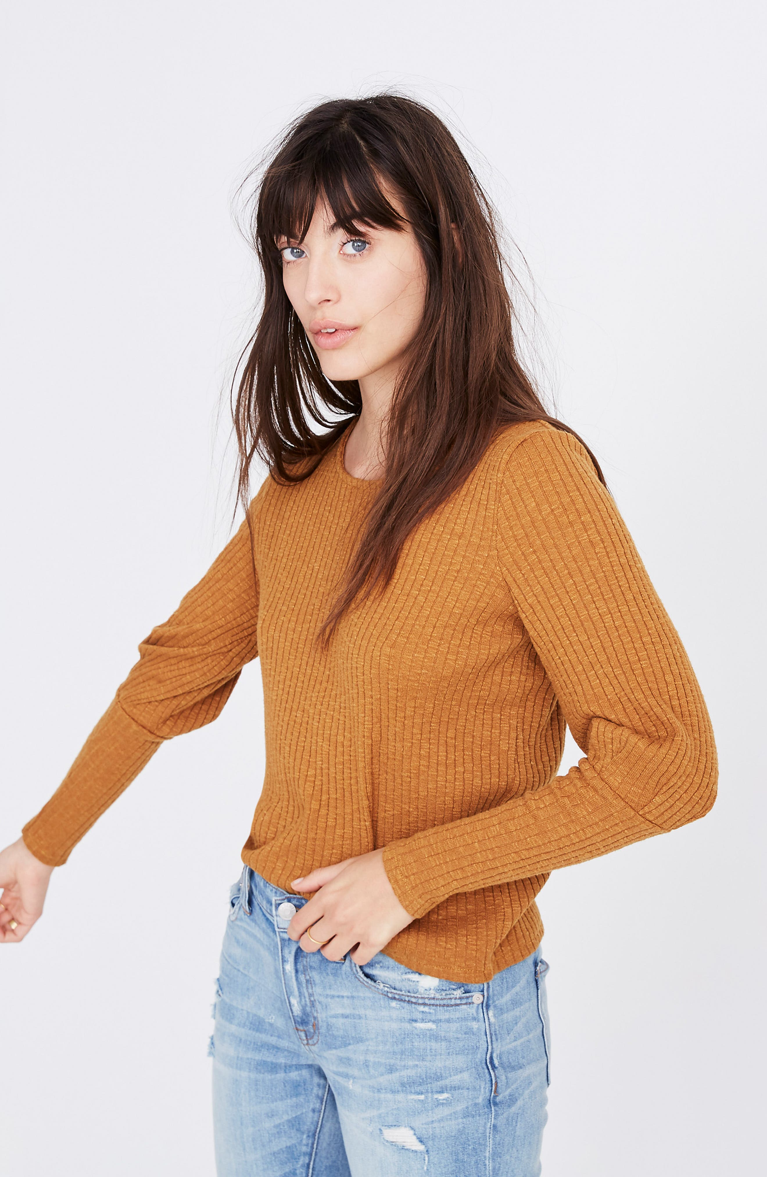 MADEWELL, Ribbed Bubble Sleeve Top, Alternate thumbnail 4, color, 200