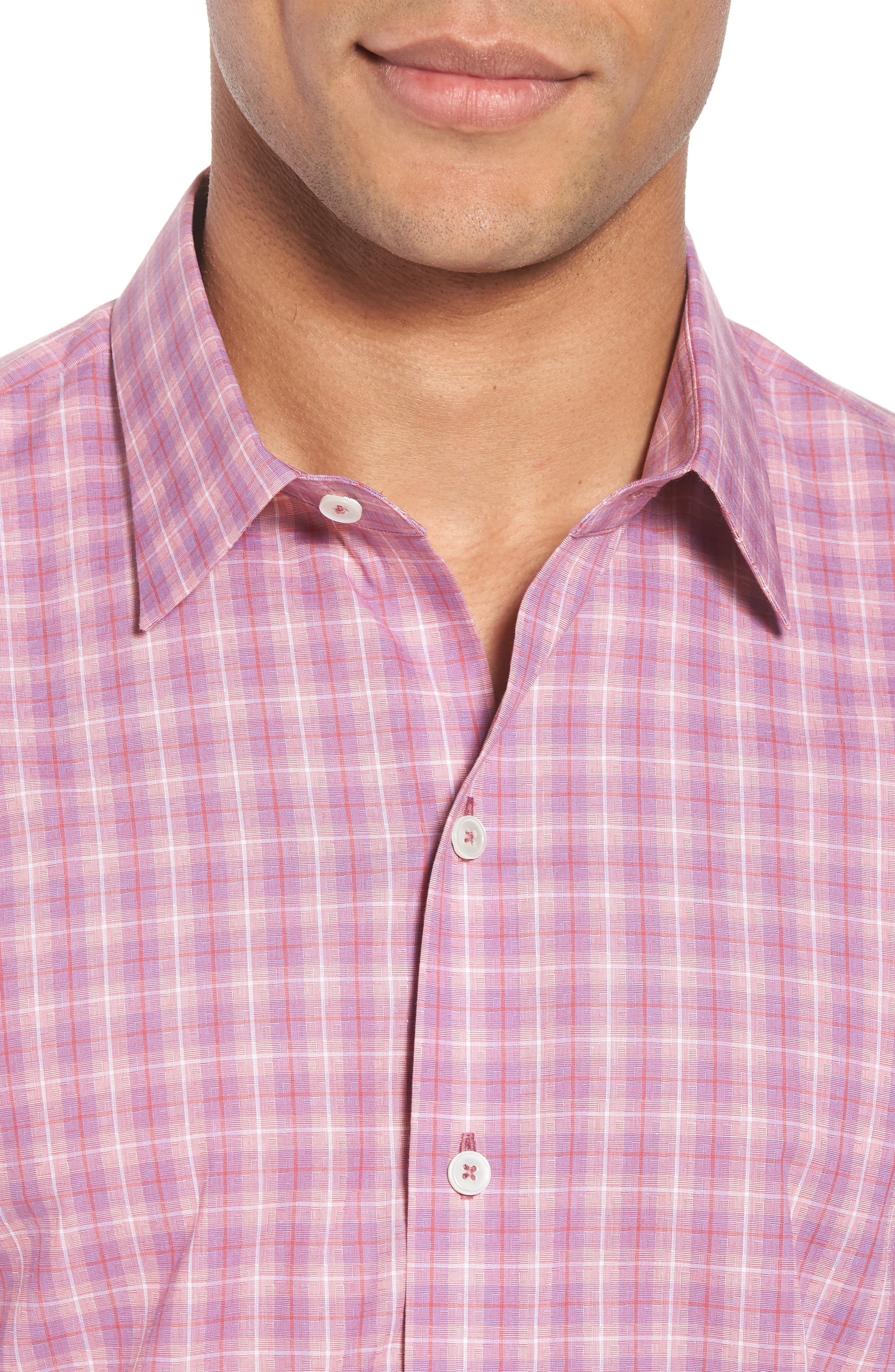 ZACHARY PRELL, Duran Regular Fit Sport Shirt, Alternate thumbnail 4, color, PINK