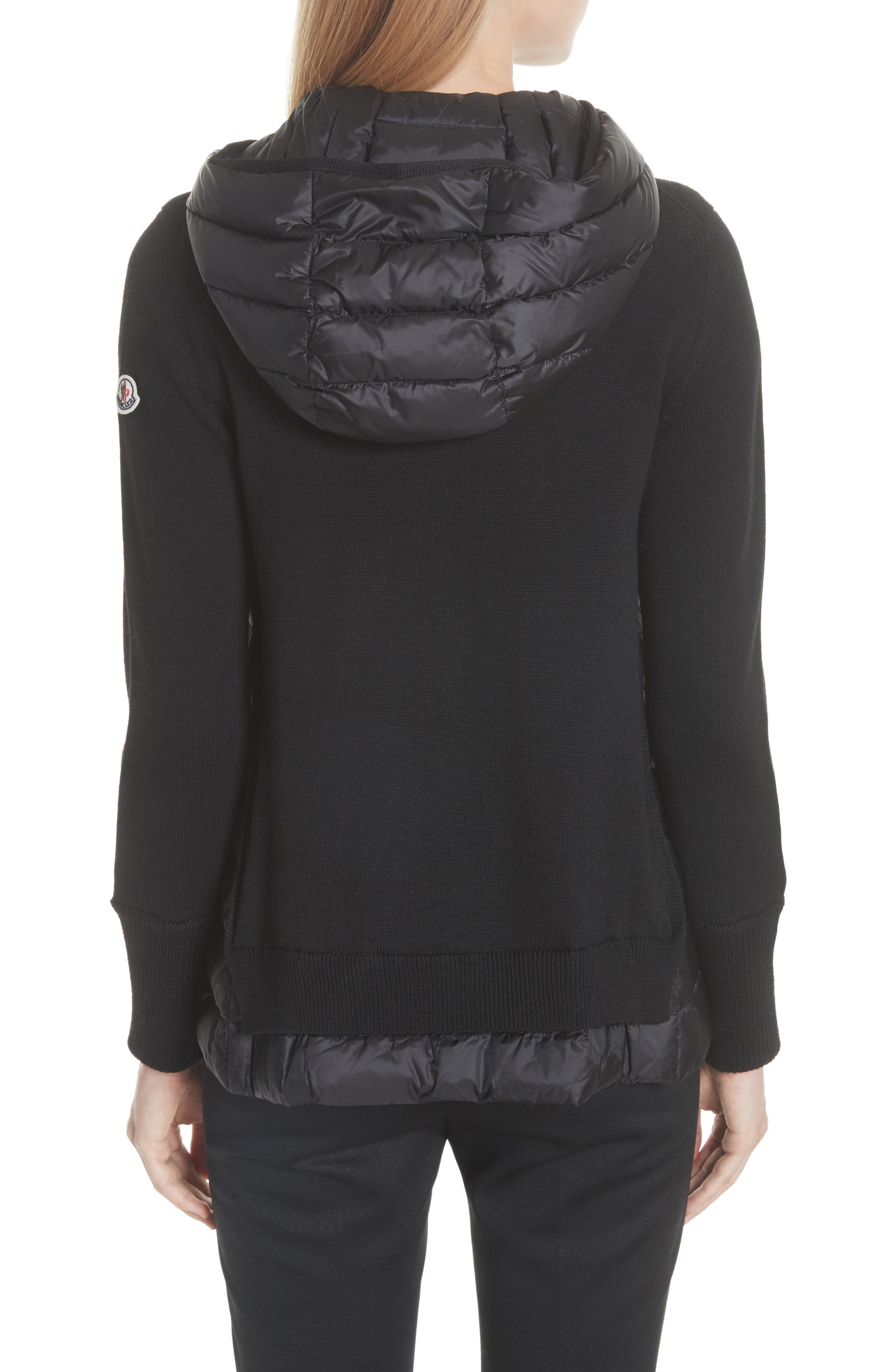 MONCLER, Hooded Quilted Cardigan, Alternate thumbnail 2, color, BLACK
