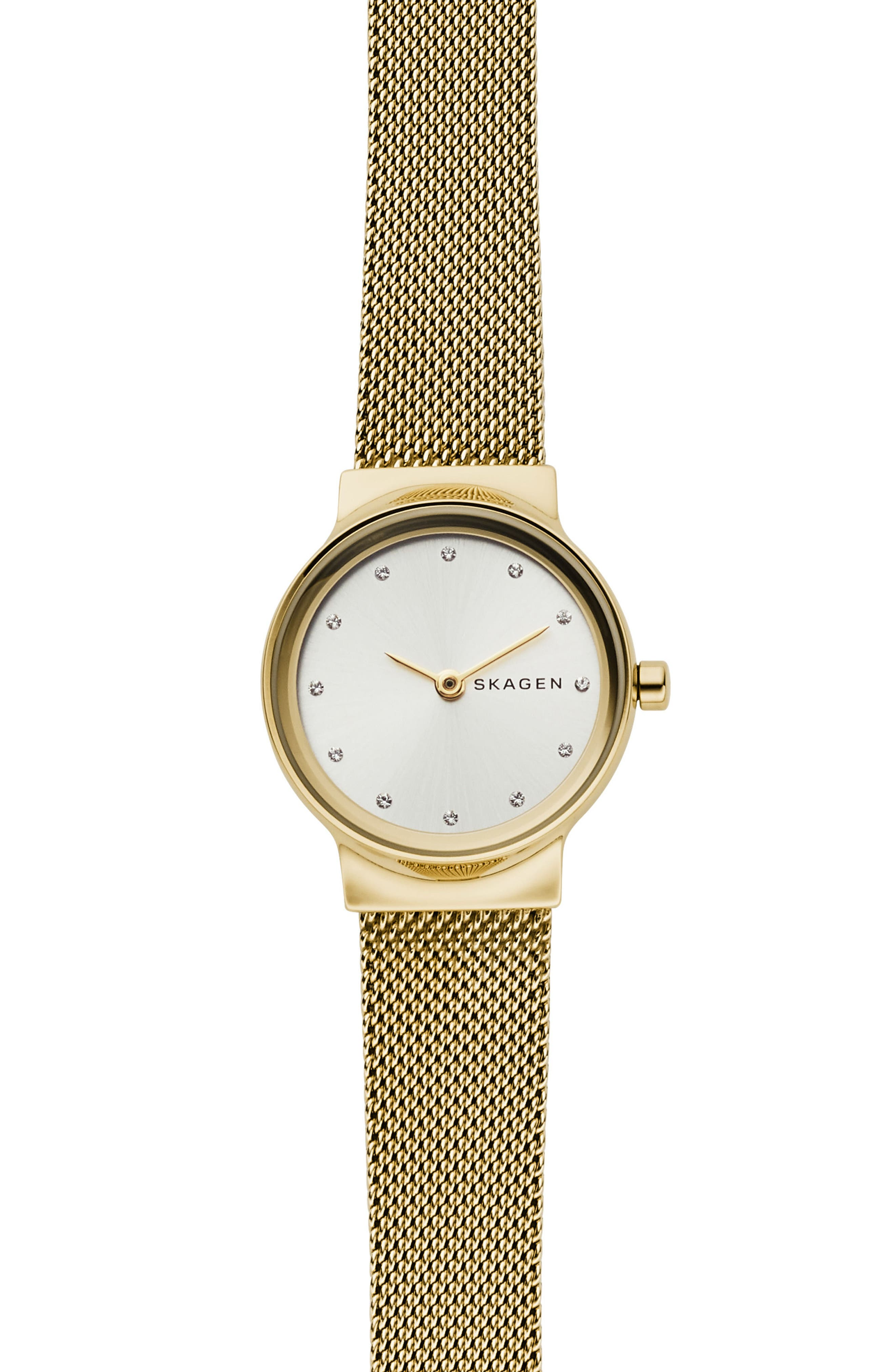 SKAGEN, Freja Bracelet Watch, 26mm, Main thumbnail 1, color, GOLD/ SILVER/ GOLD