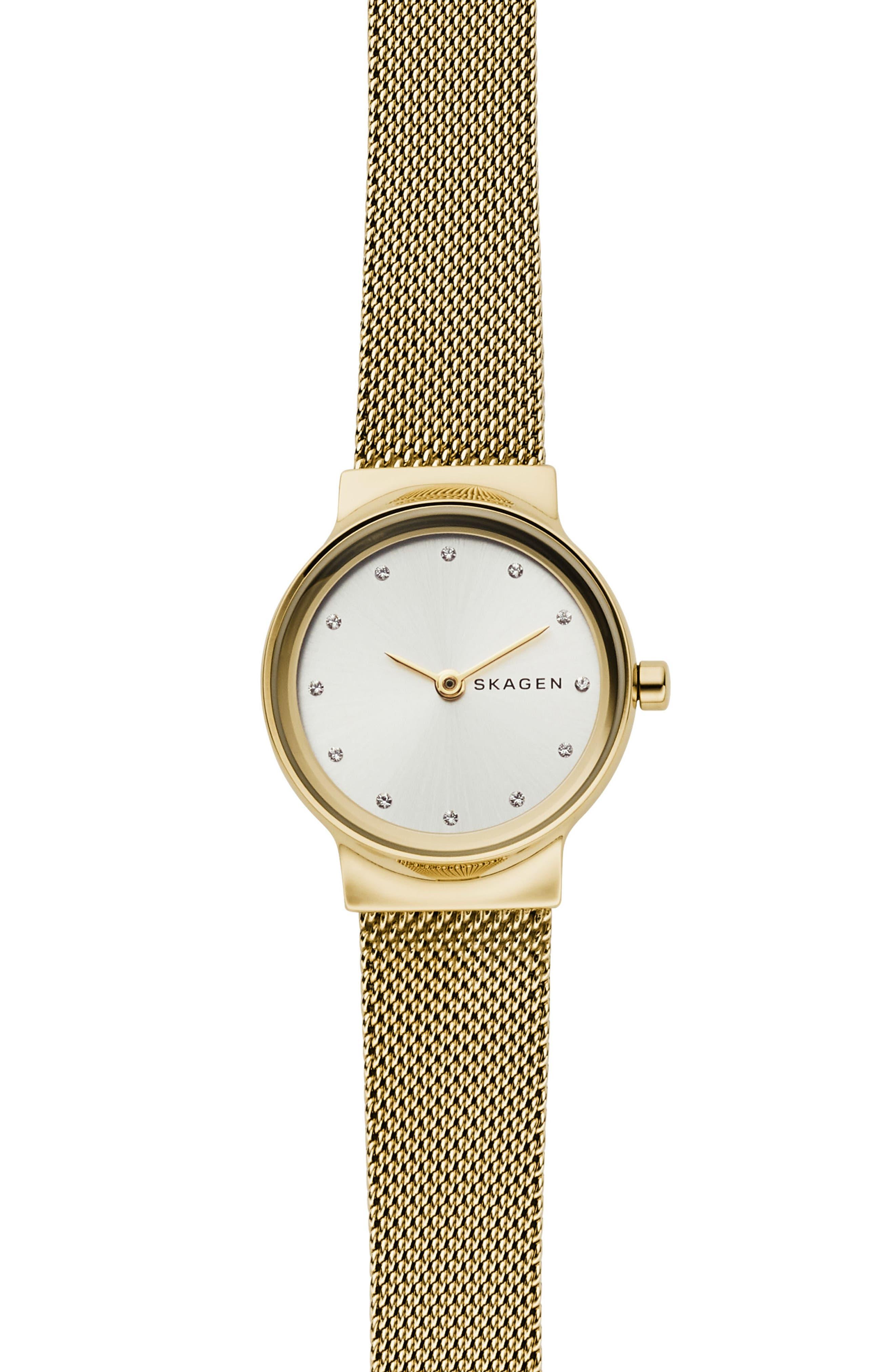 SKAGEN Freja Bracelet Watch, 26mm, Main, color, GOLD/ SILVER/ GOLD