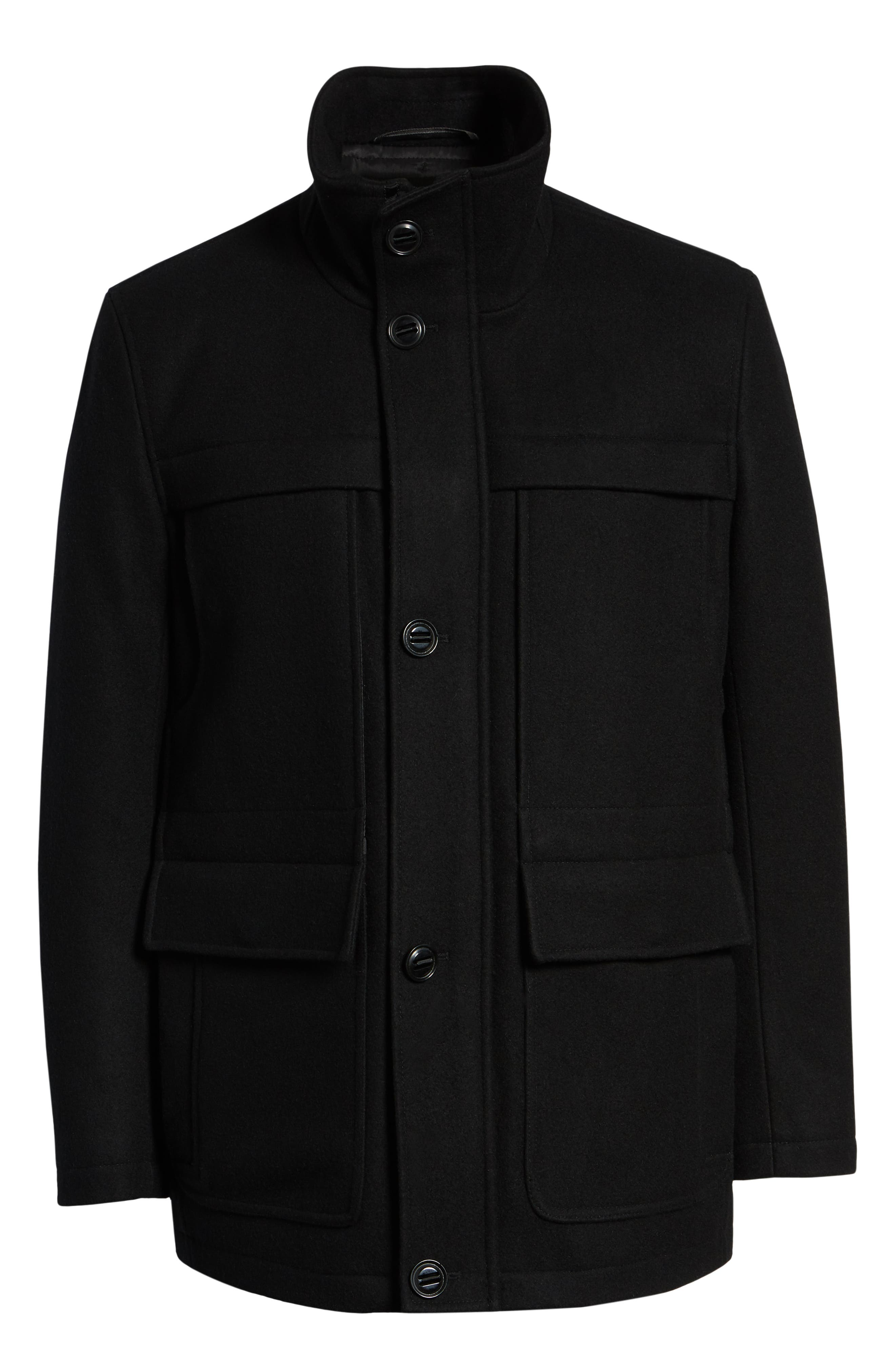 MARC NEW YORK, Brantley Wool Blend Car Coat, Alternate thumbnail 6, color, 001