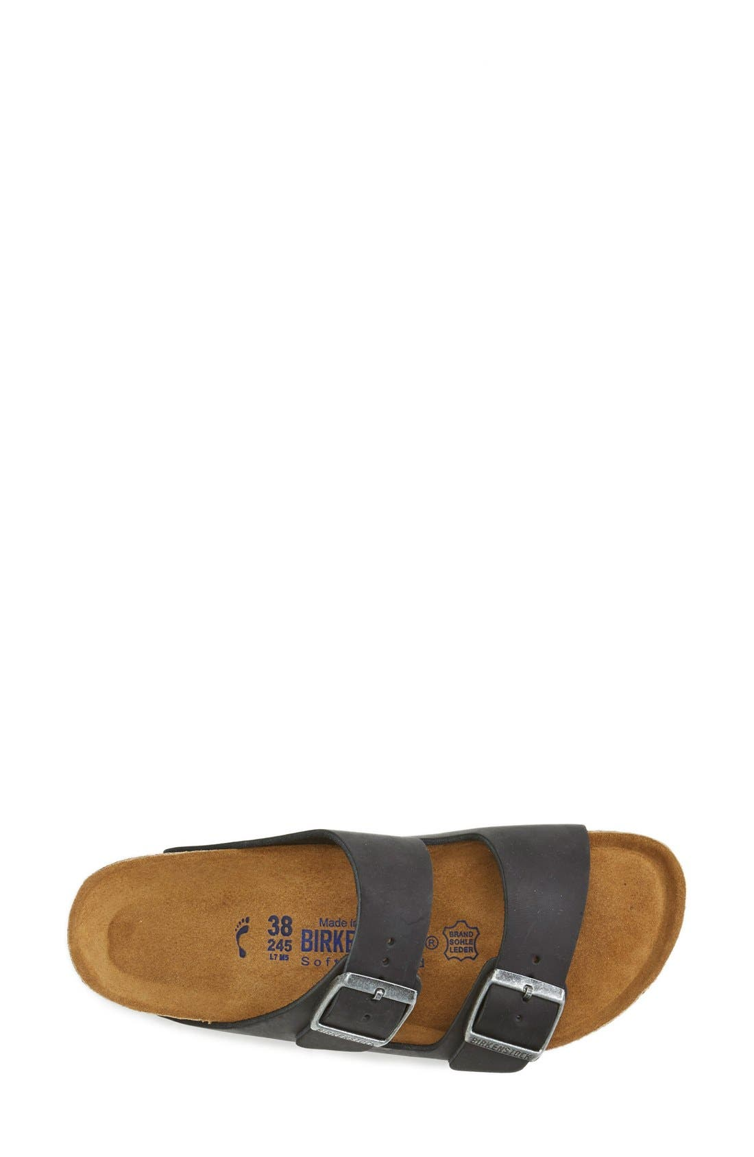 BIRKENSTOCK, Arizona Soft Footbed Sandal, Alternate thumbnail 5, color, BLACK/ BLACK