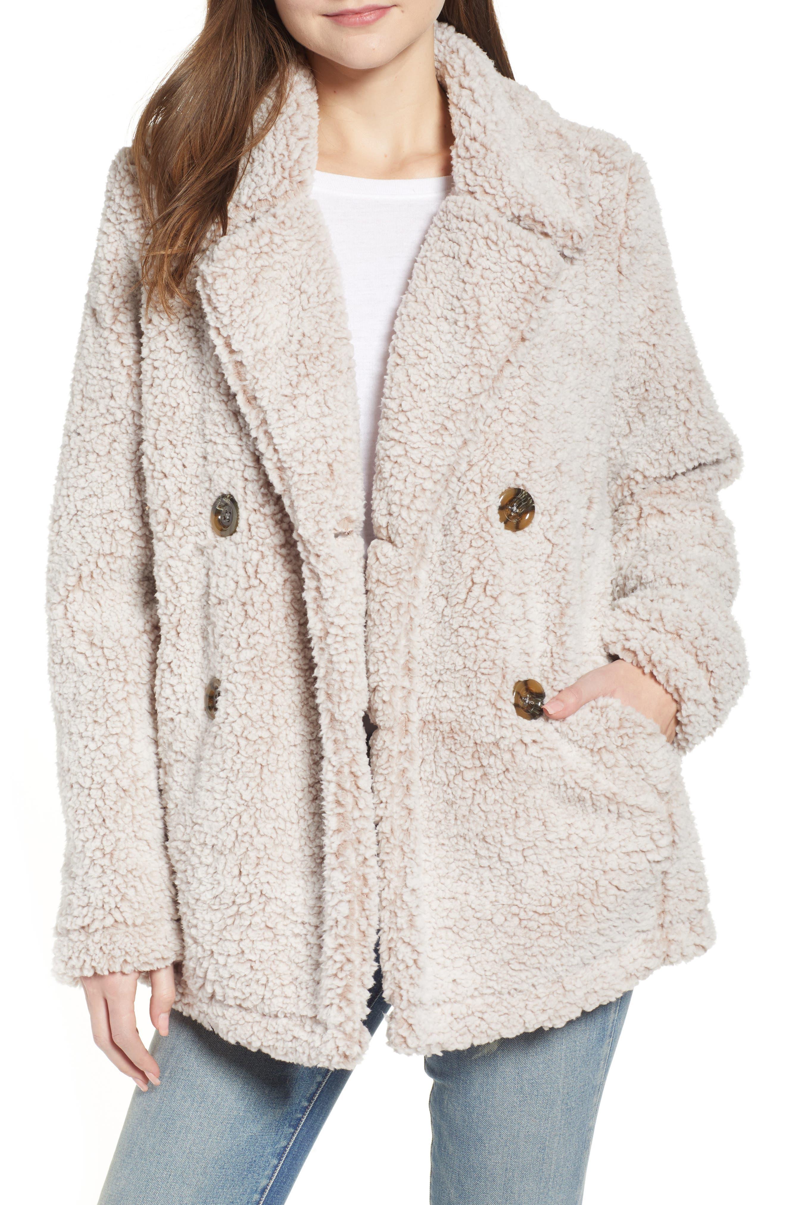 THREAD & SUPPLY, Double Breasted Fleece Coat, Main thumbnail 1, color, SMOKE ROSE