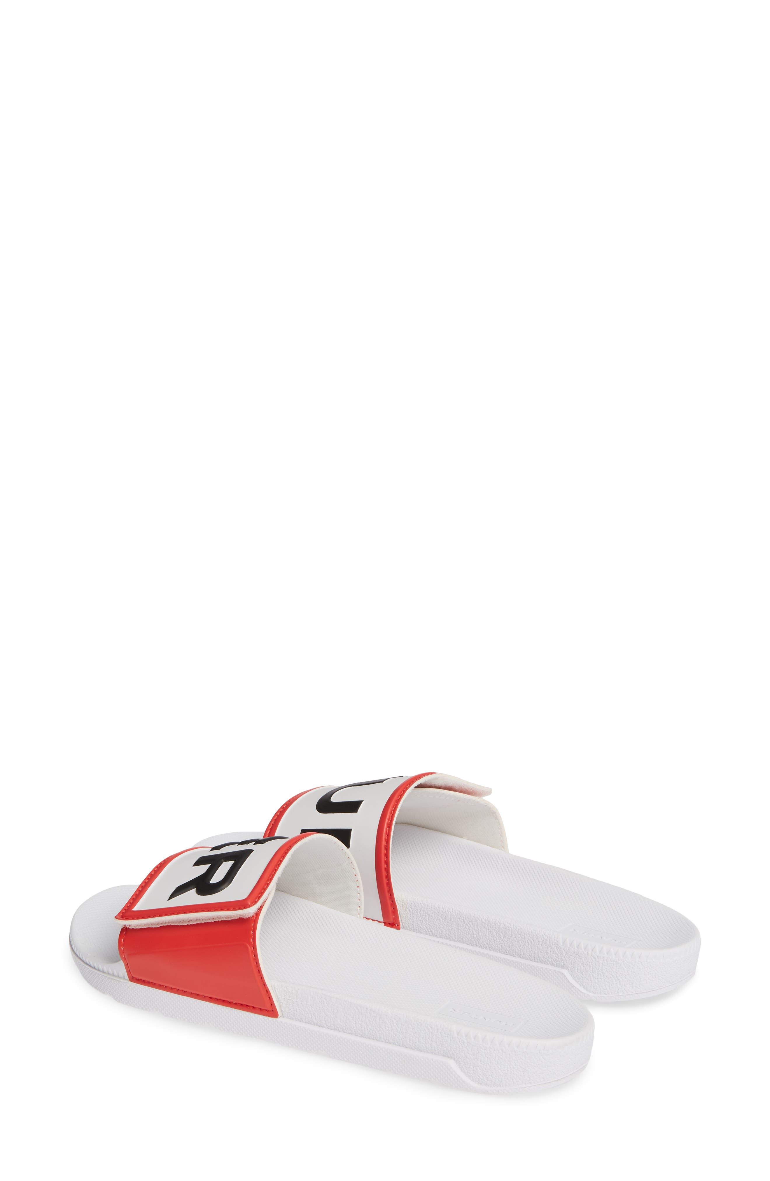 HUNTER, Original Adjustable Logo Slide Sandal, Alternate thumbnail 3, color, WHITE/ WHITE