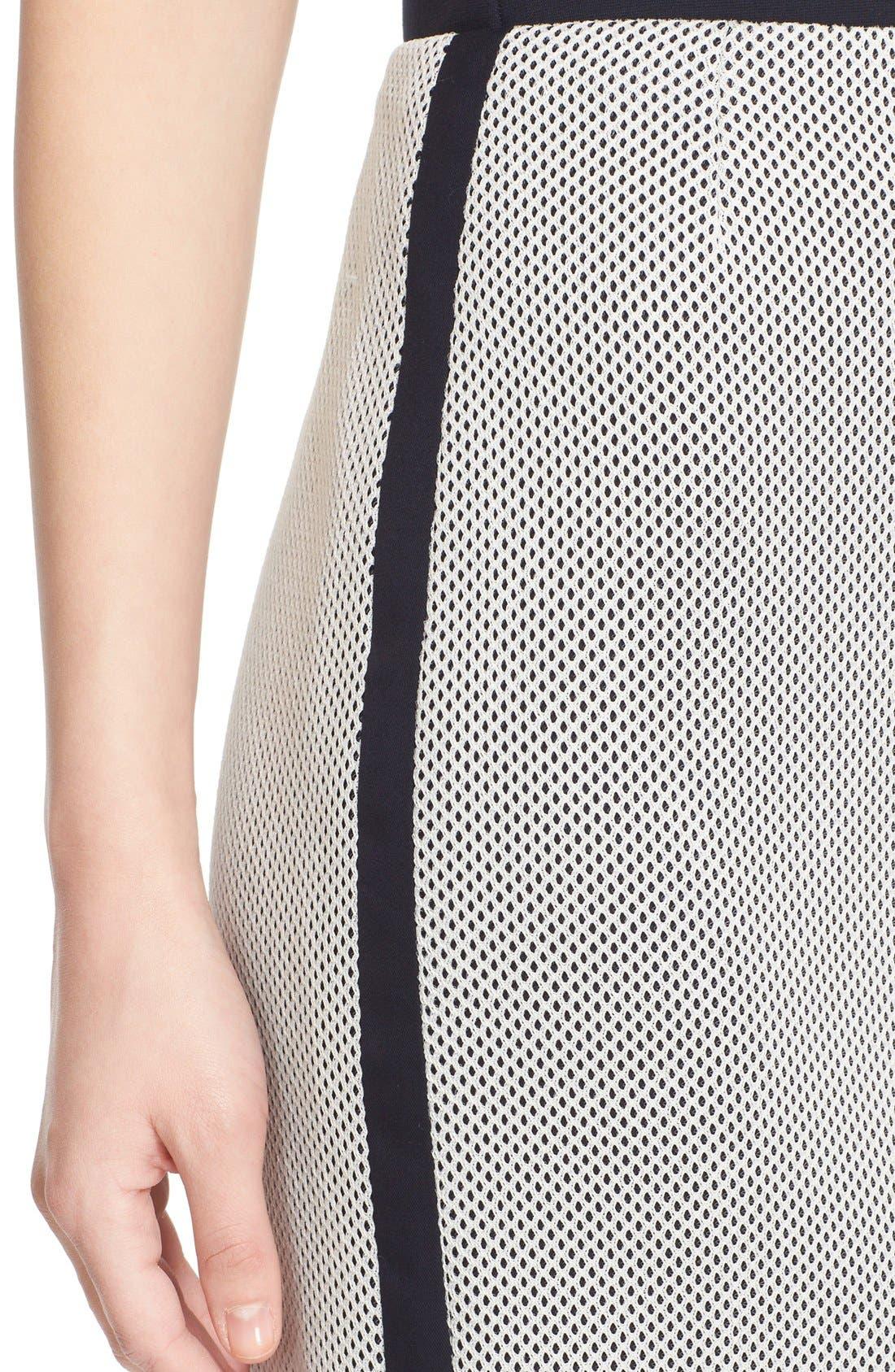 AKRIS PUNTO, Side Stripe Mesh Pencil Skirt, Alternate thumbnail 5, color, 900
