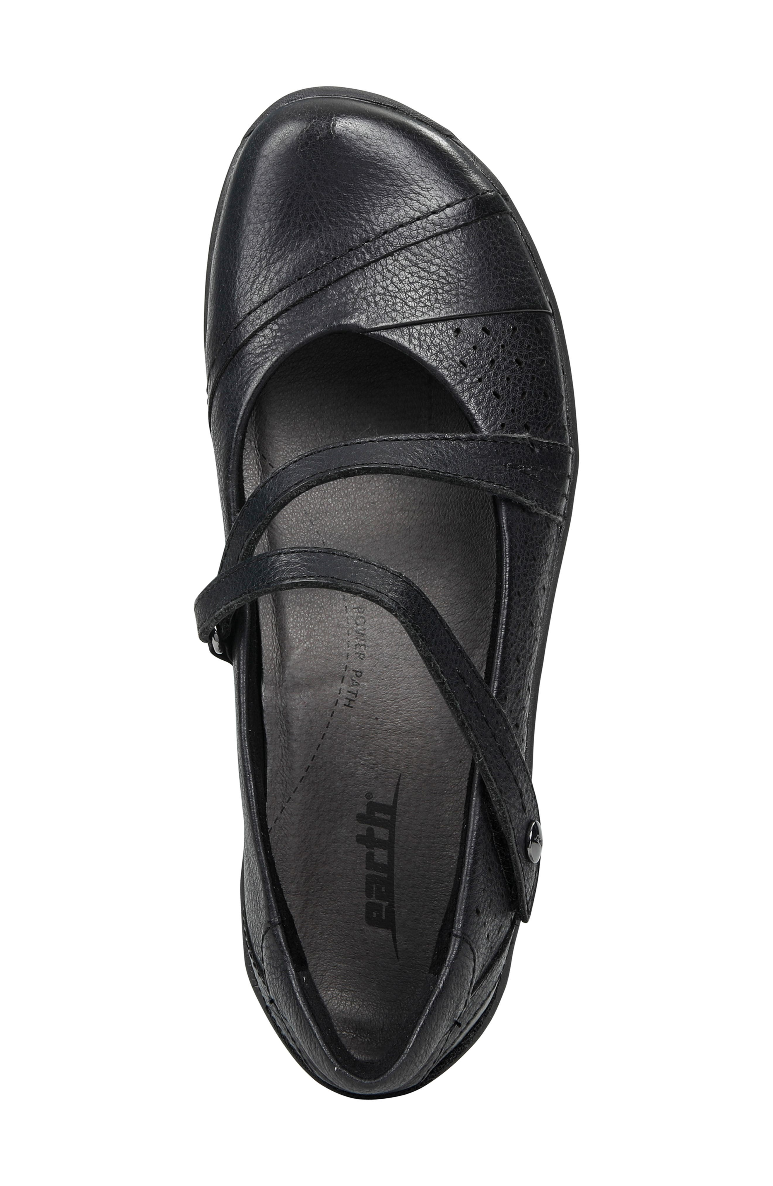 EARTH<SUP>®</SUP>, Newton Mary Jane Flat, Alternate thumbnail 5, color, BLACK LEATHER