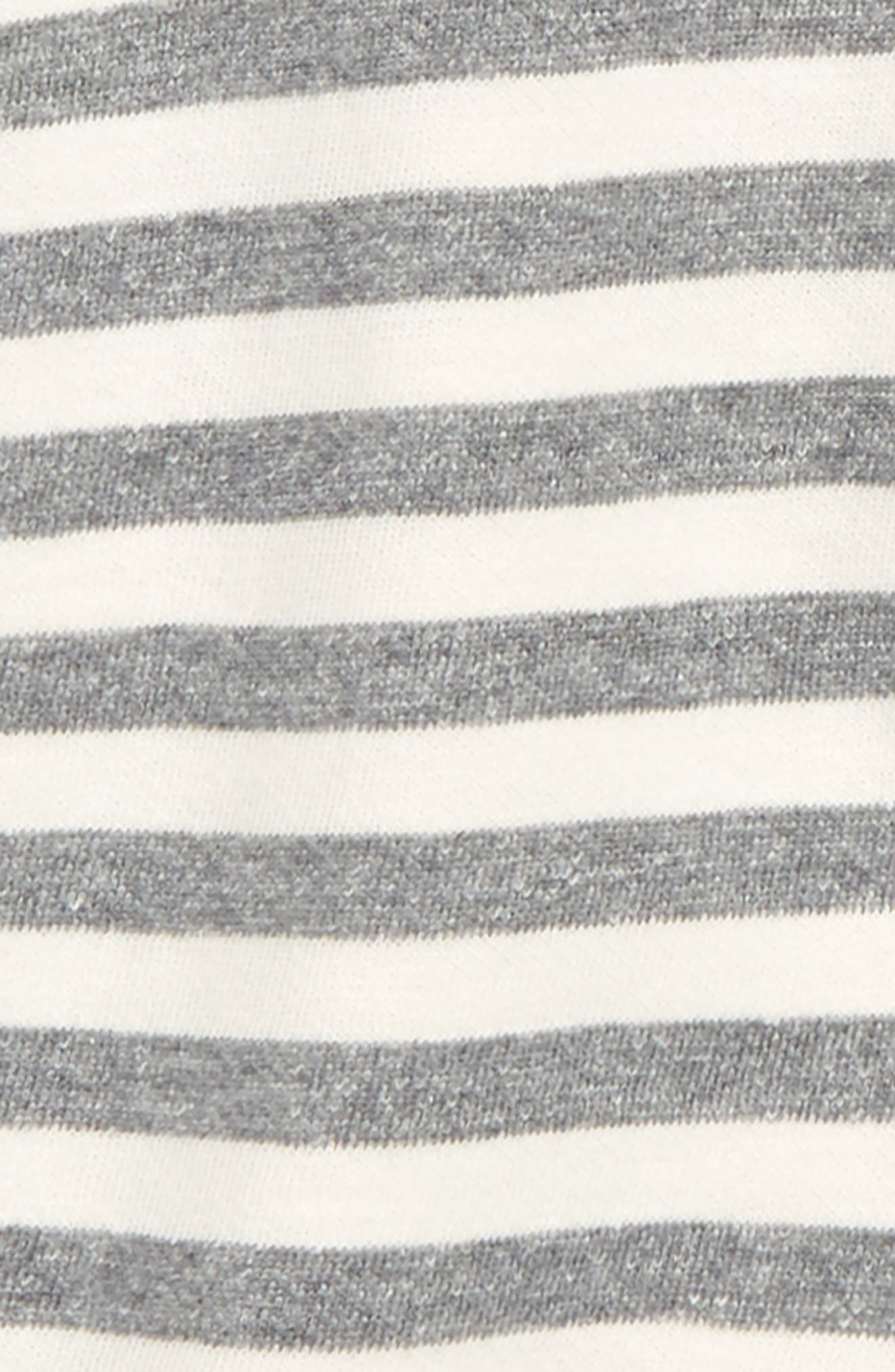 NORDSTROM BABY, Stripe Hooded Romper, Alternate thumbnail 2, color, IVORY EGRET- GREY STRIPE