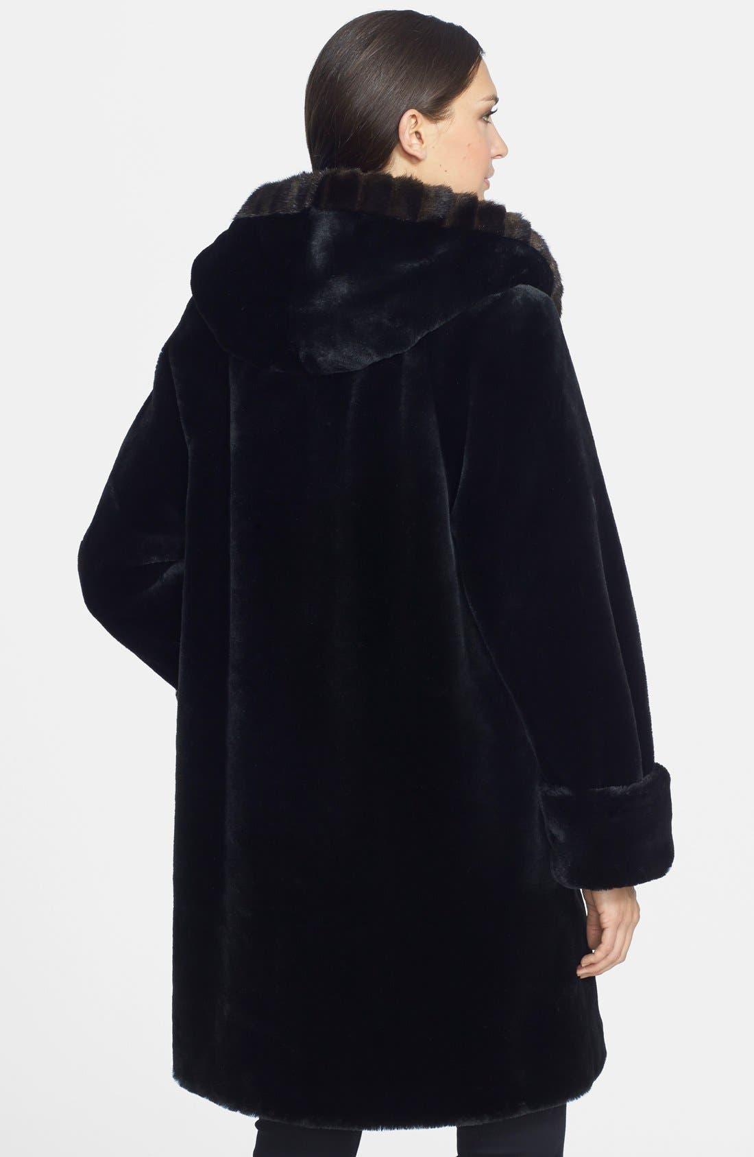 GALLERY, Hooded Faux Fur Walking Coat, Alternate thumbnail 2, color, 001