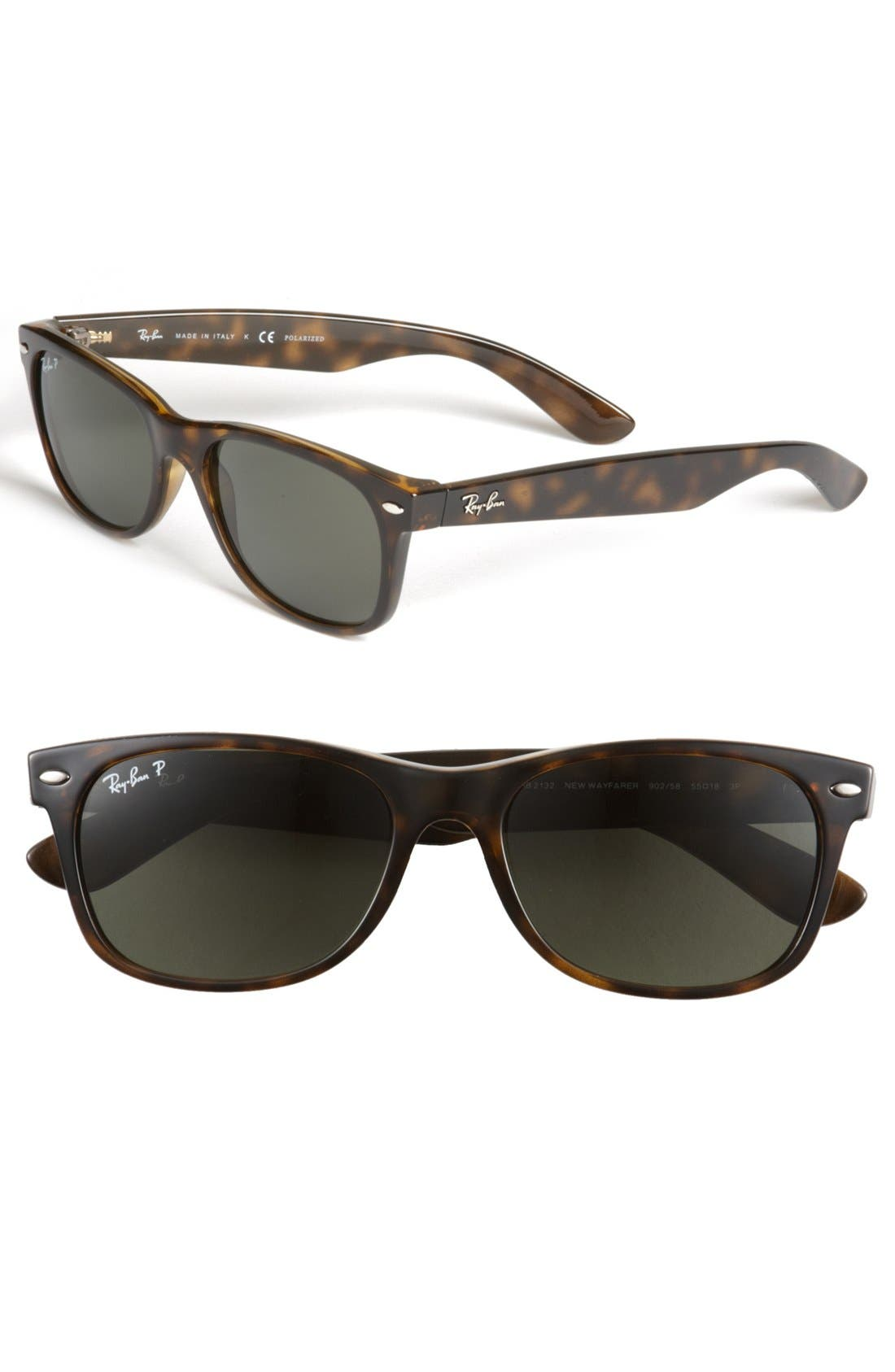 RAY-BAN 'New Wayfarer' 55mm Polarized Sunglasses, Main, color, TORTOISE/ GREEN P
